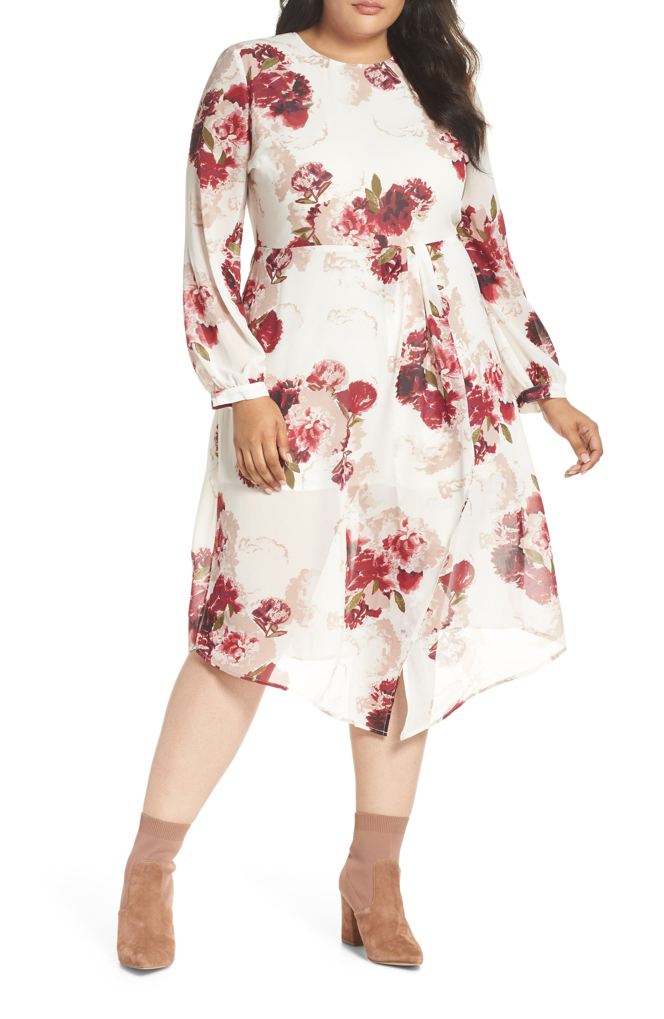 Floral Drape Dress,                             Main thumbnail 1, color,                             900