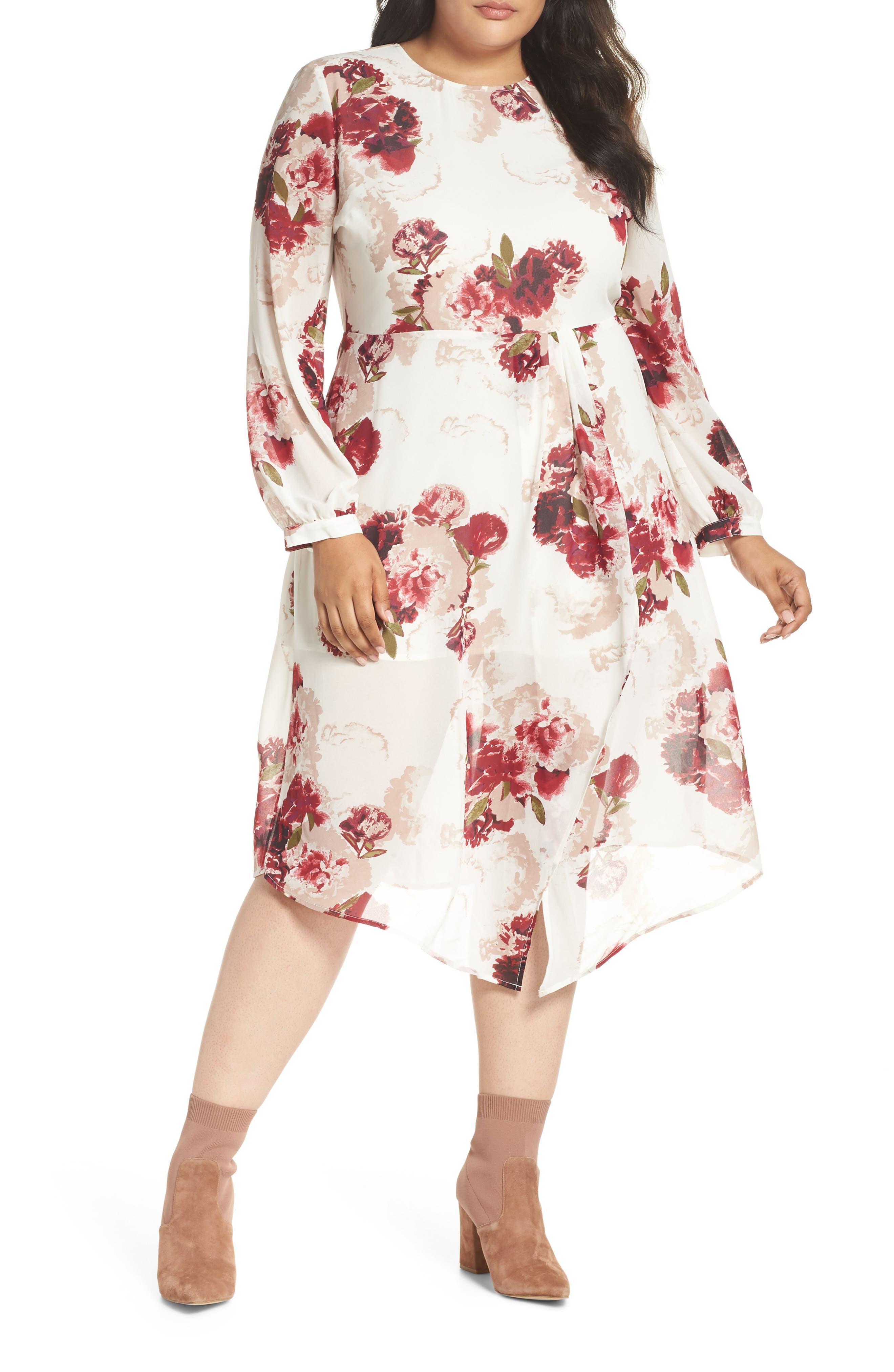 Floral Drape Dress, Main, color, 900