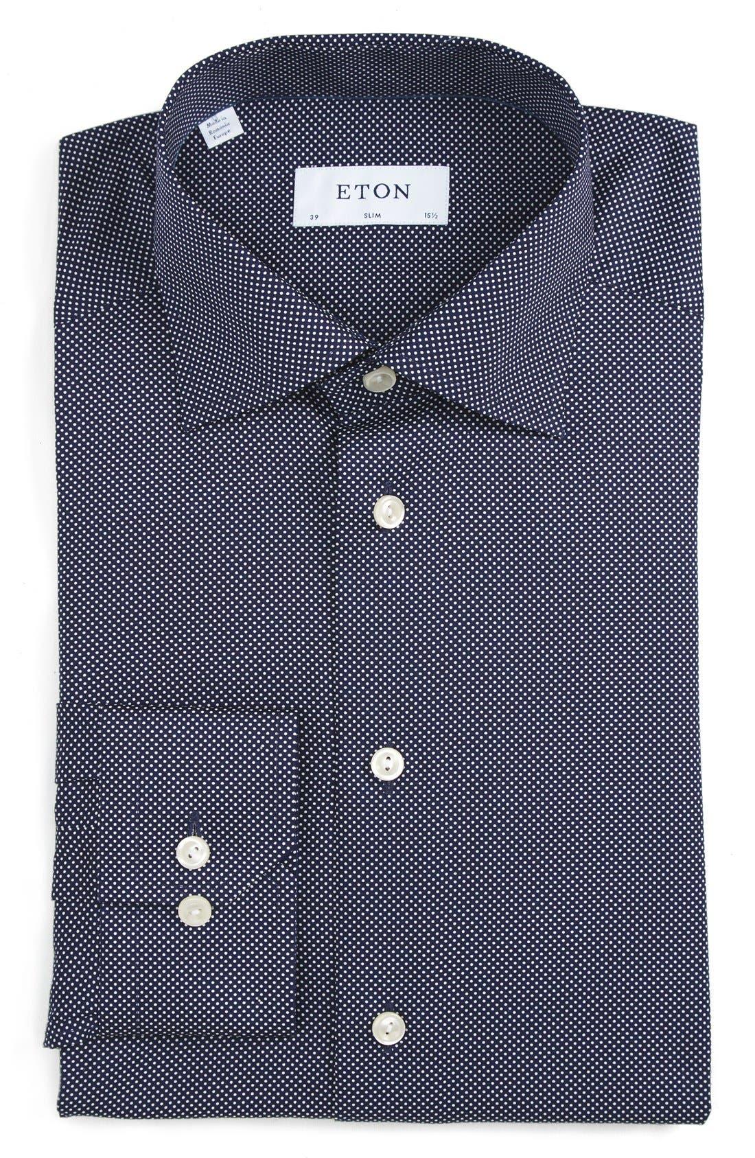 Slim Fit Dot Dress Shirt,                             Main thumbnail 1, color,                             BLUE