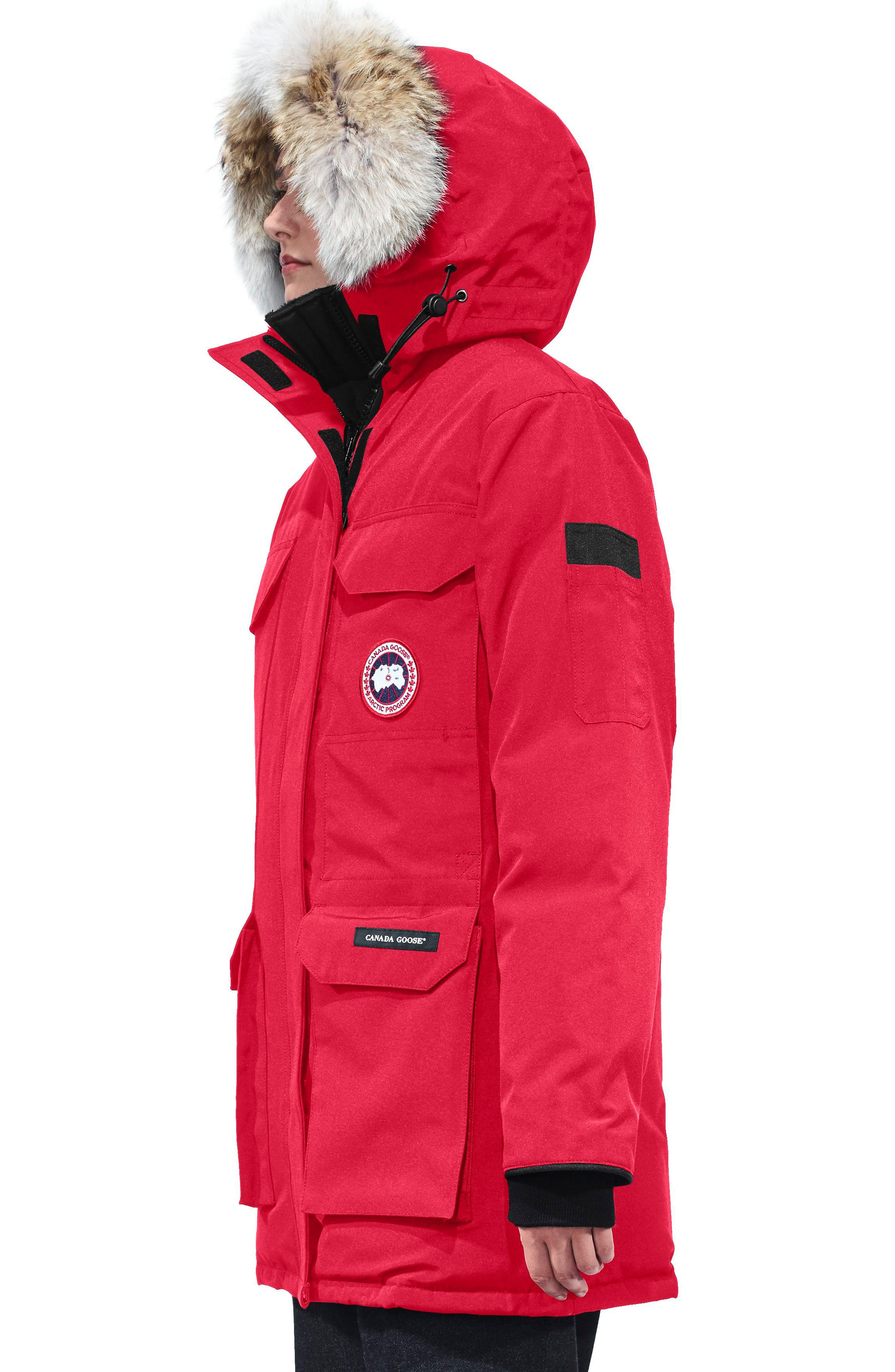 Expedition Hooded Down Parka with Genuine Coyote Fur Trim,                             Alternate thumbnail 3, color,                             RED