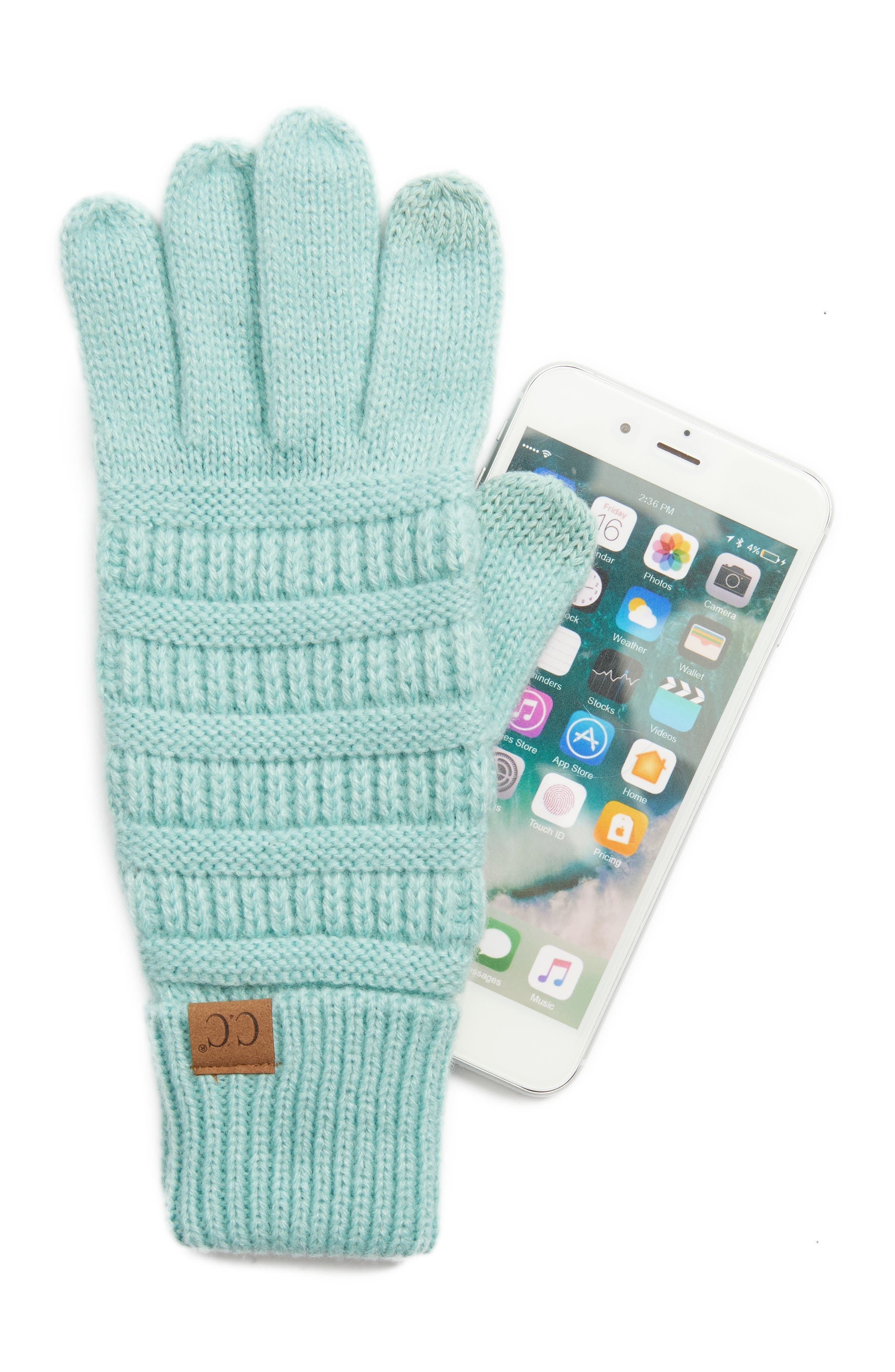 Rib Knit Tech Gloves,                             Alternate thumbnail 10, color,