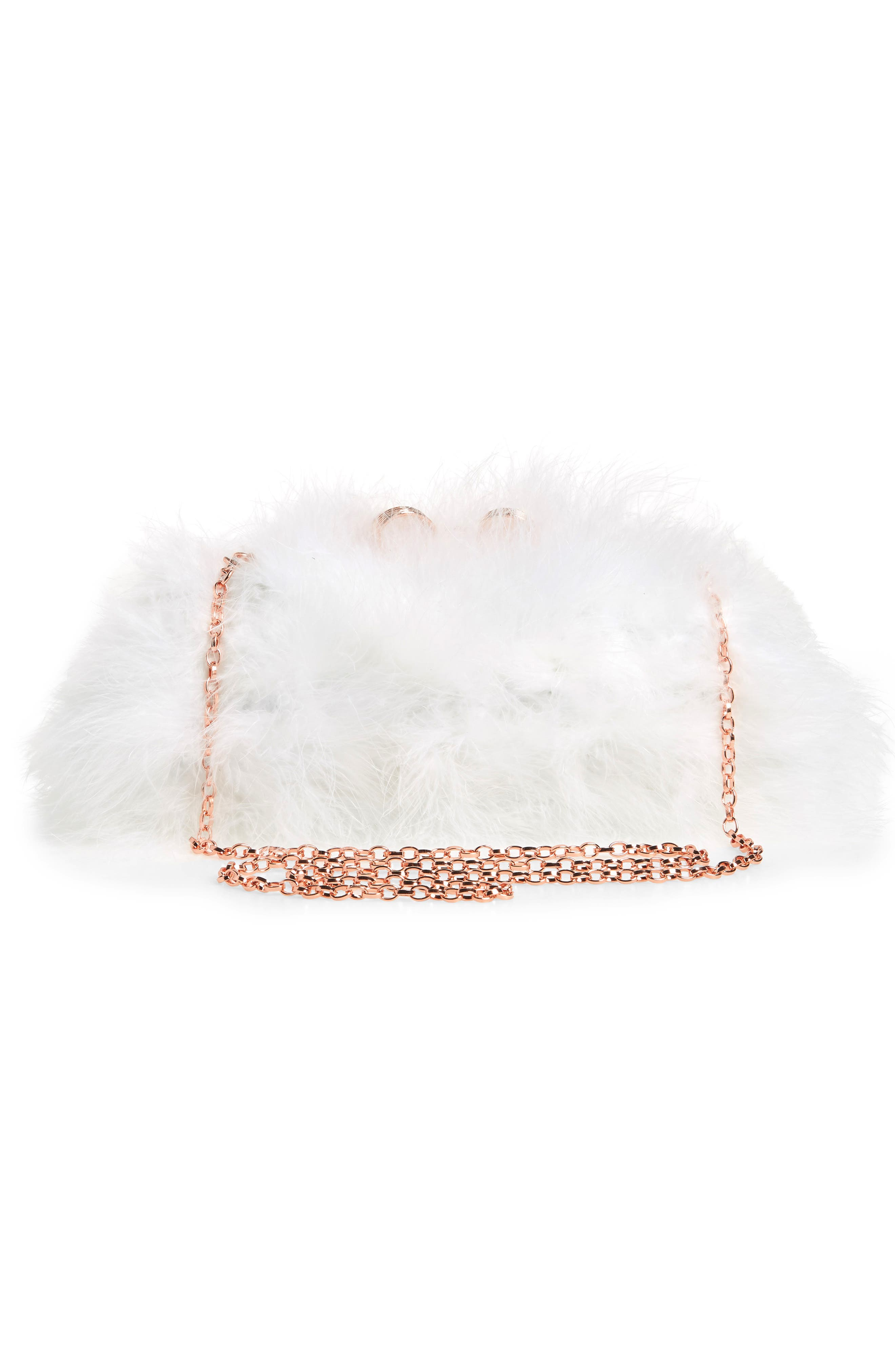 Loop Bow Feather Evening Bag,                             Alternate thumbnail 3, color,                             115