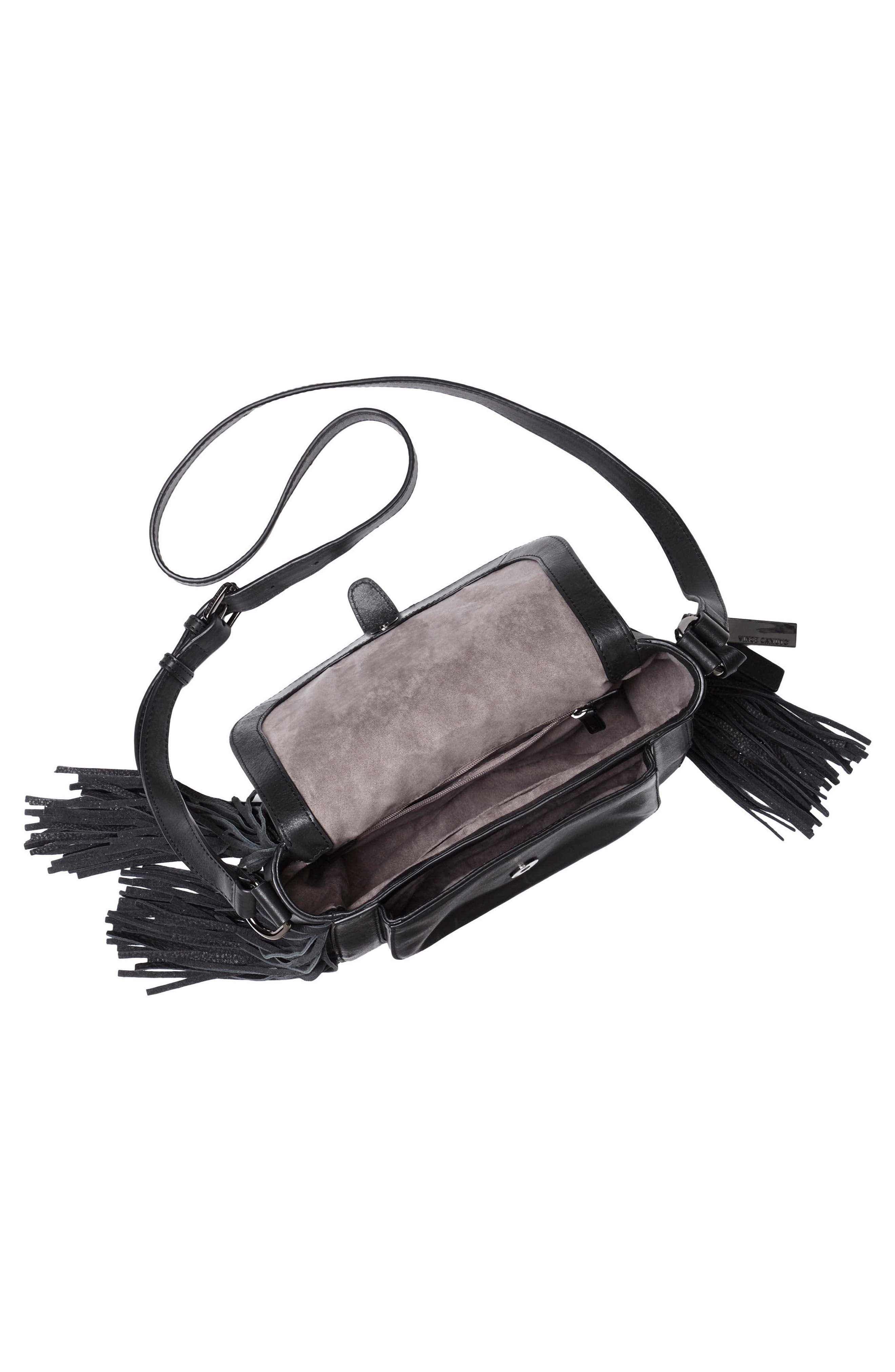 Hil Leather Crossbody Bag,                             Alternate thumbnail 3, color,                             002