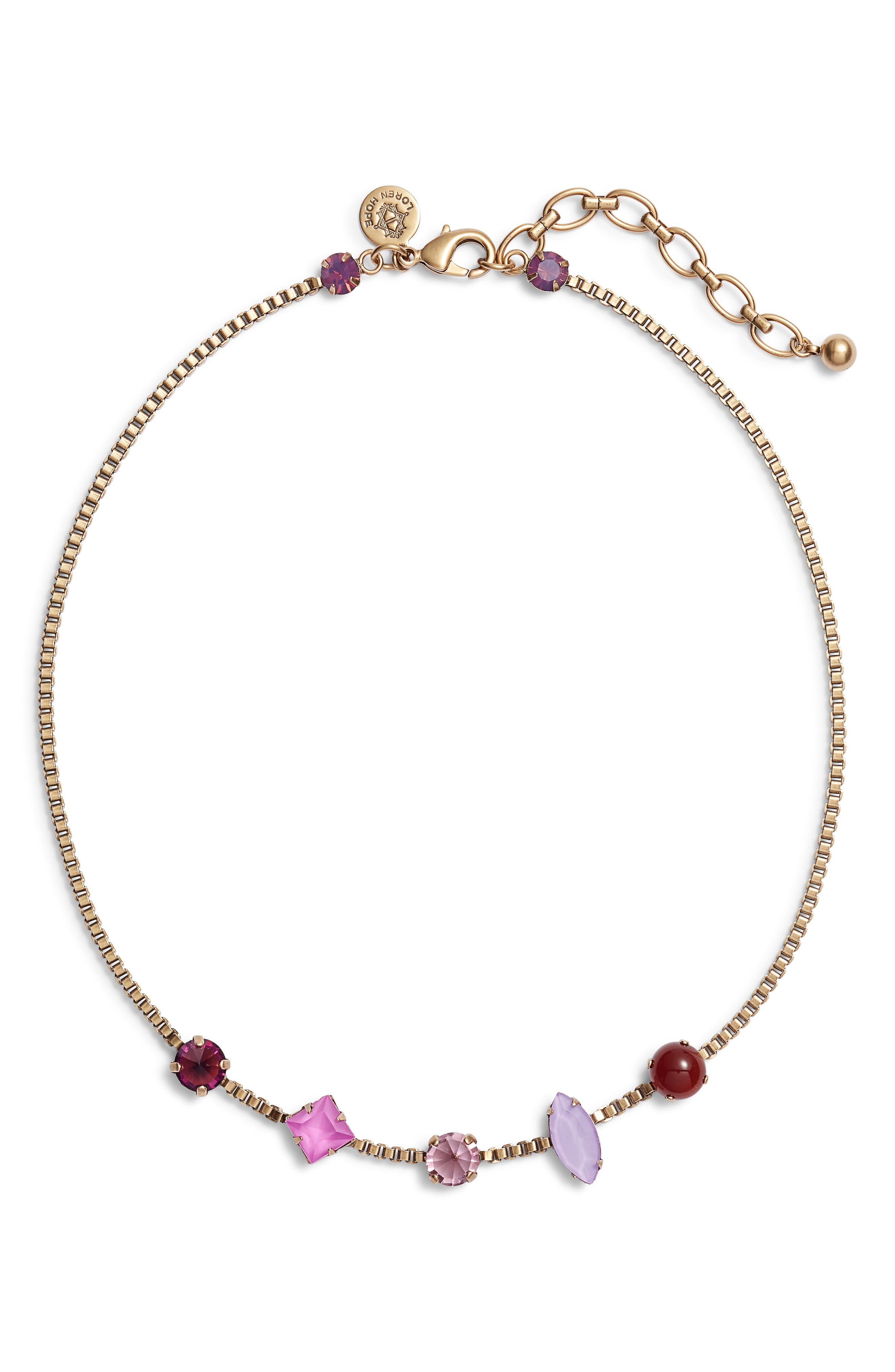 Harlow Crystal Necklace,                             Main thumbnail 1, color,                             PURPLE MULTI