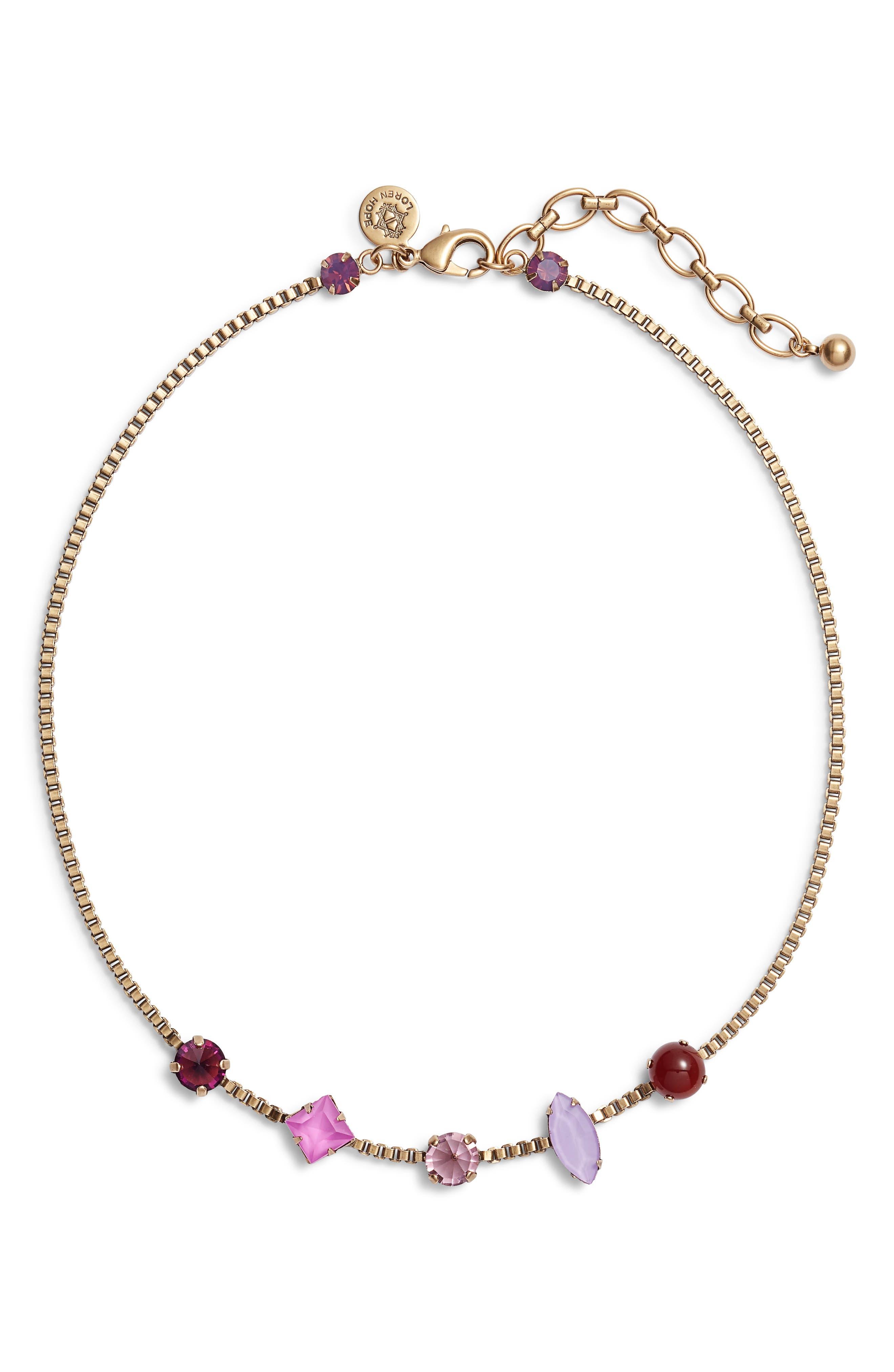 Harlow Crystal Necklace,                         Main,                         color, PURPLE MULTI