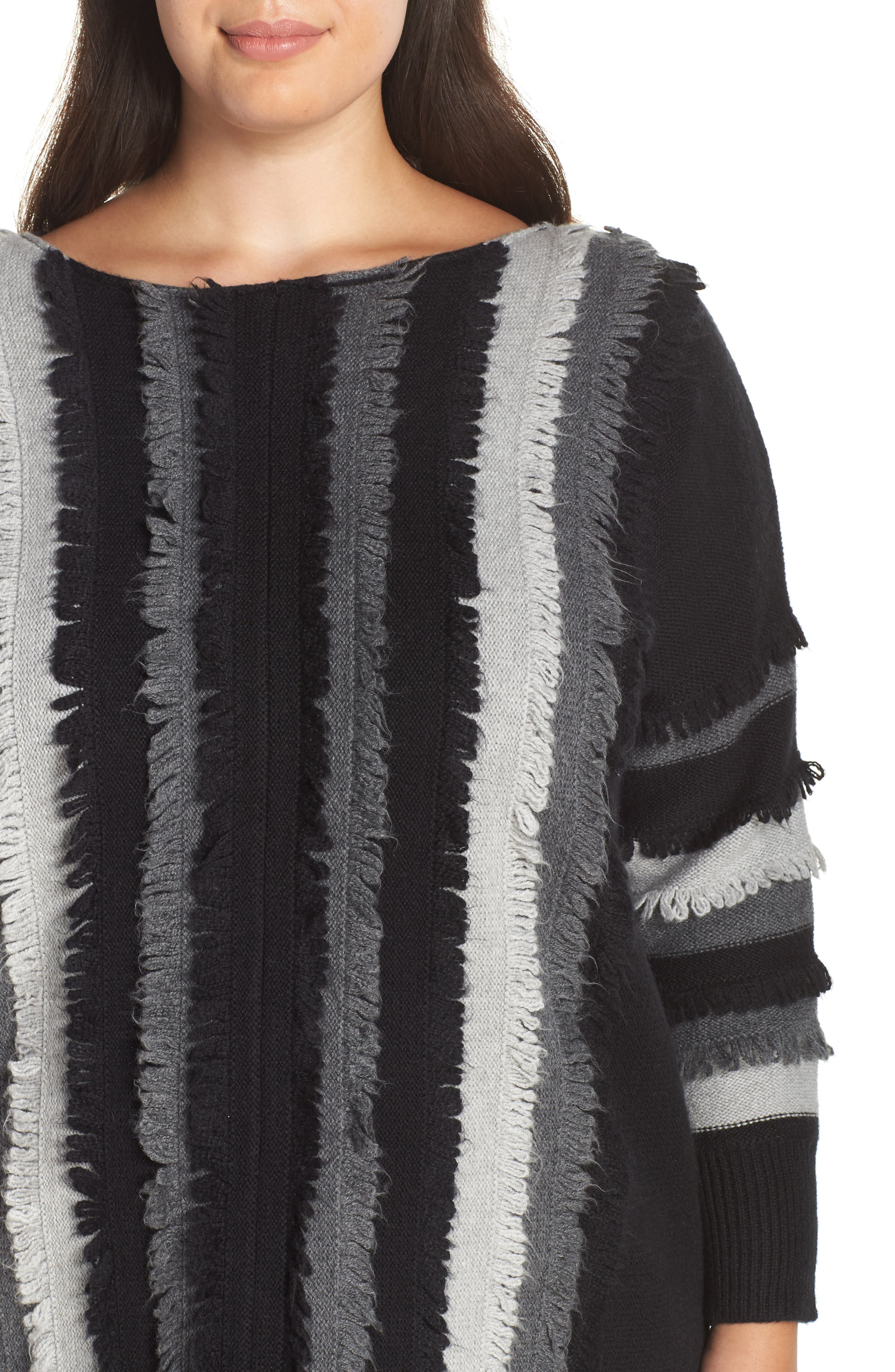 Colorblock Loop Stitch Sweater,                             Alternate thumbnail 4, color,                             RICH BLACK