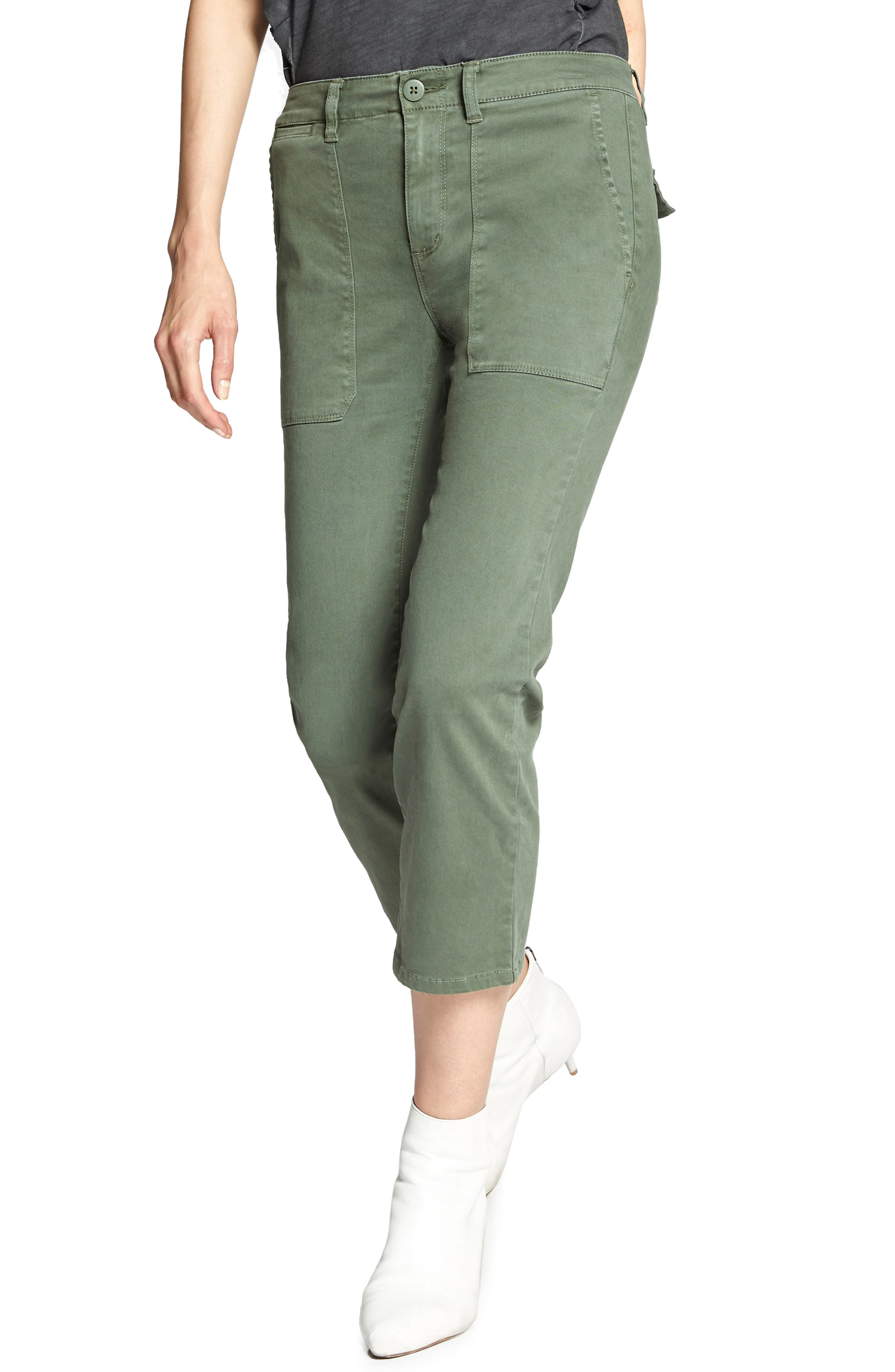 Peace Crop Chino Pants in Peace Green