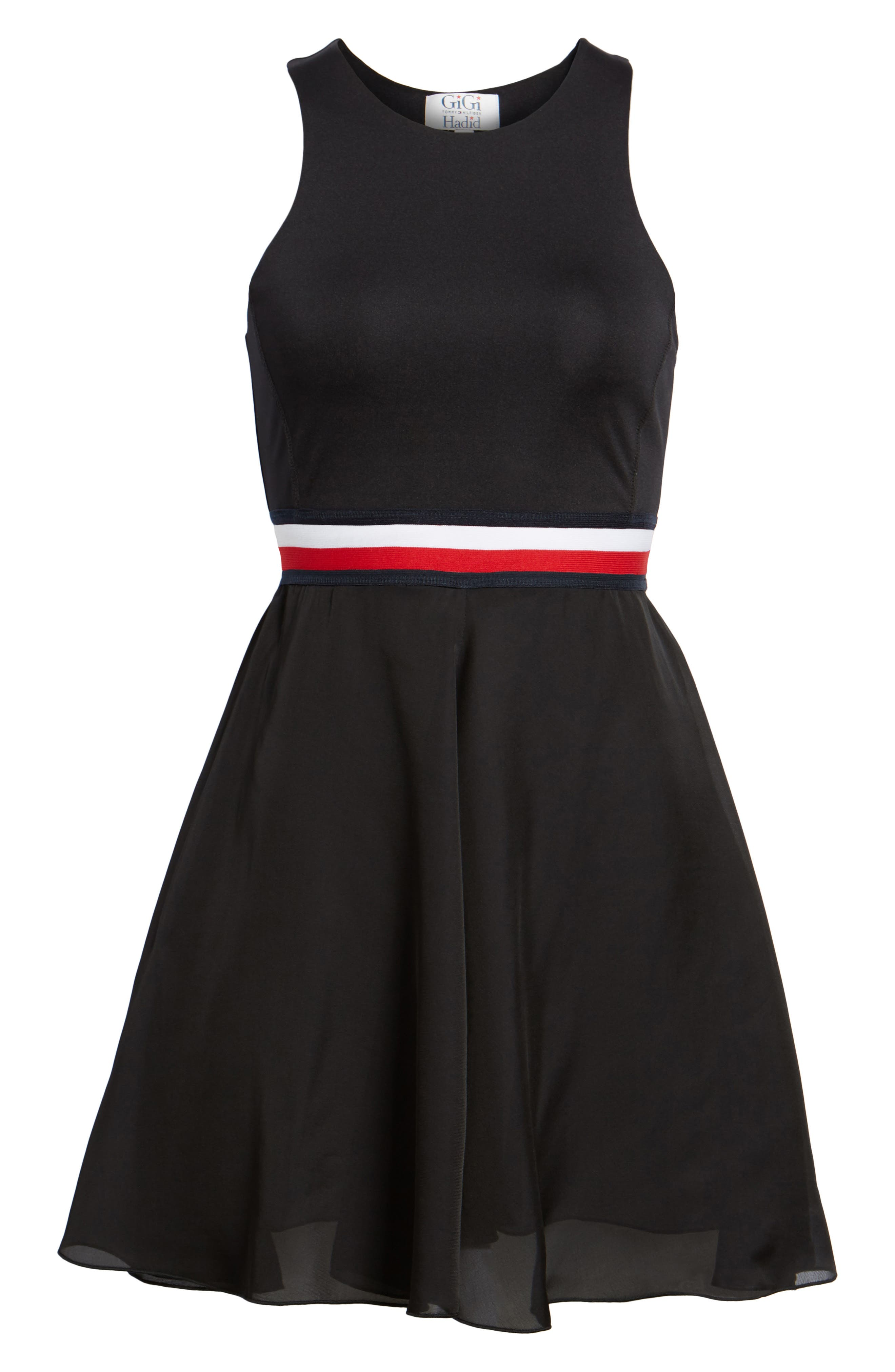 x Gigi Hadid Racerback Dress,                             Alternate thumbnail 7, color,                             001
