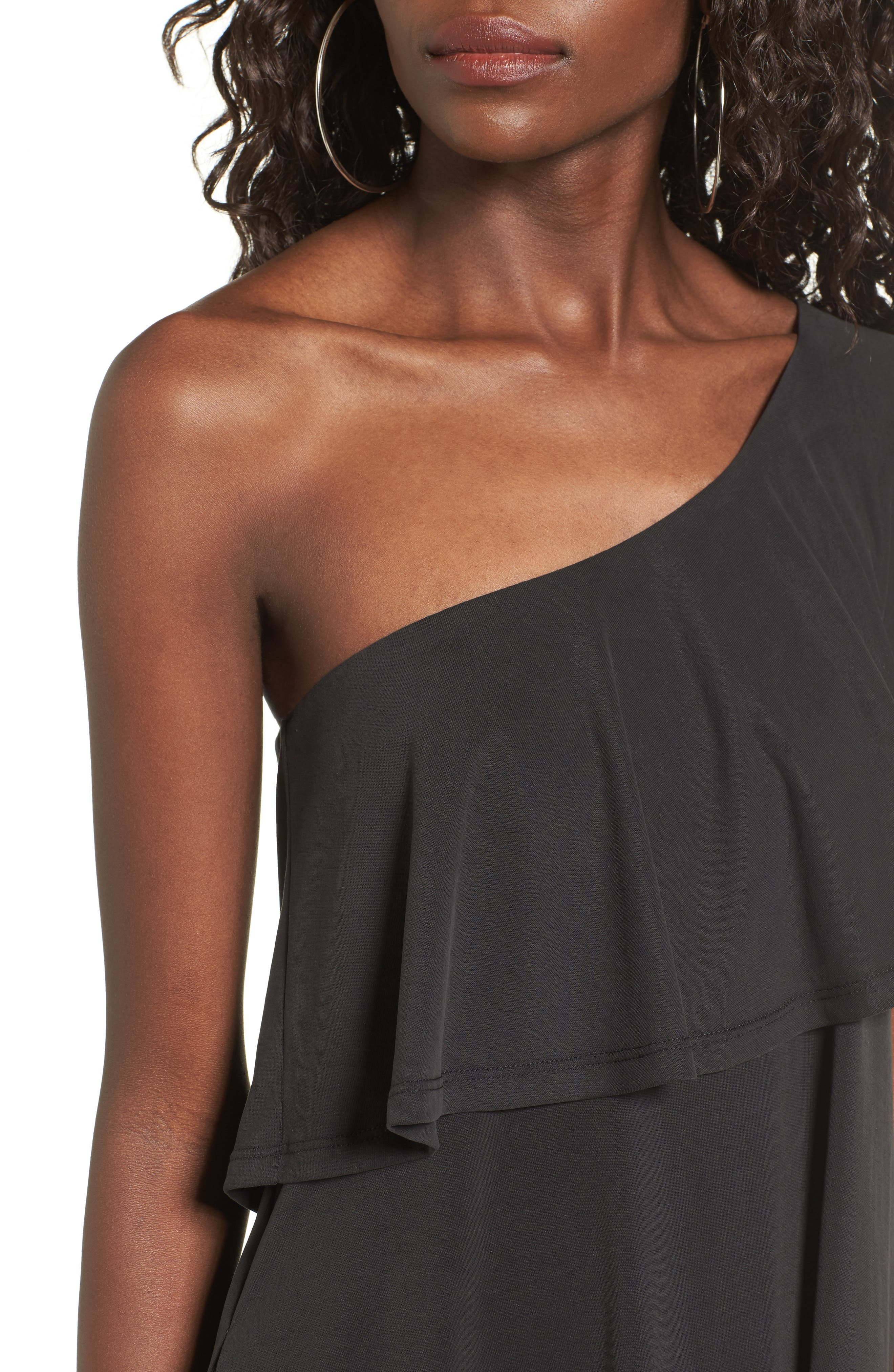 One-Shoulder Ruffle Dress,                             Alternate thumbnail 4, color,                             001