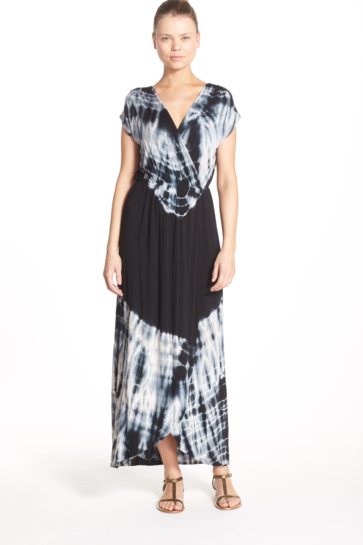 Tie Dye Faux Wrap Maxi Dress,                             Alternate thumbnail 4, color,                             001