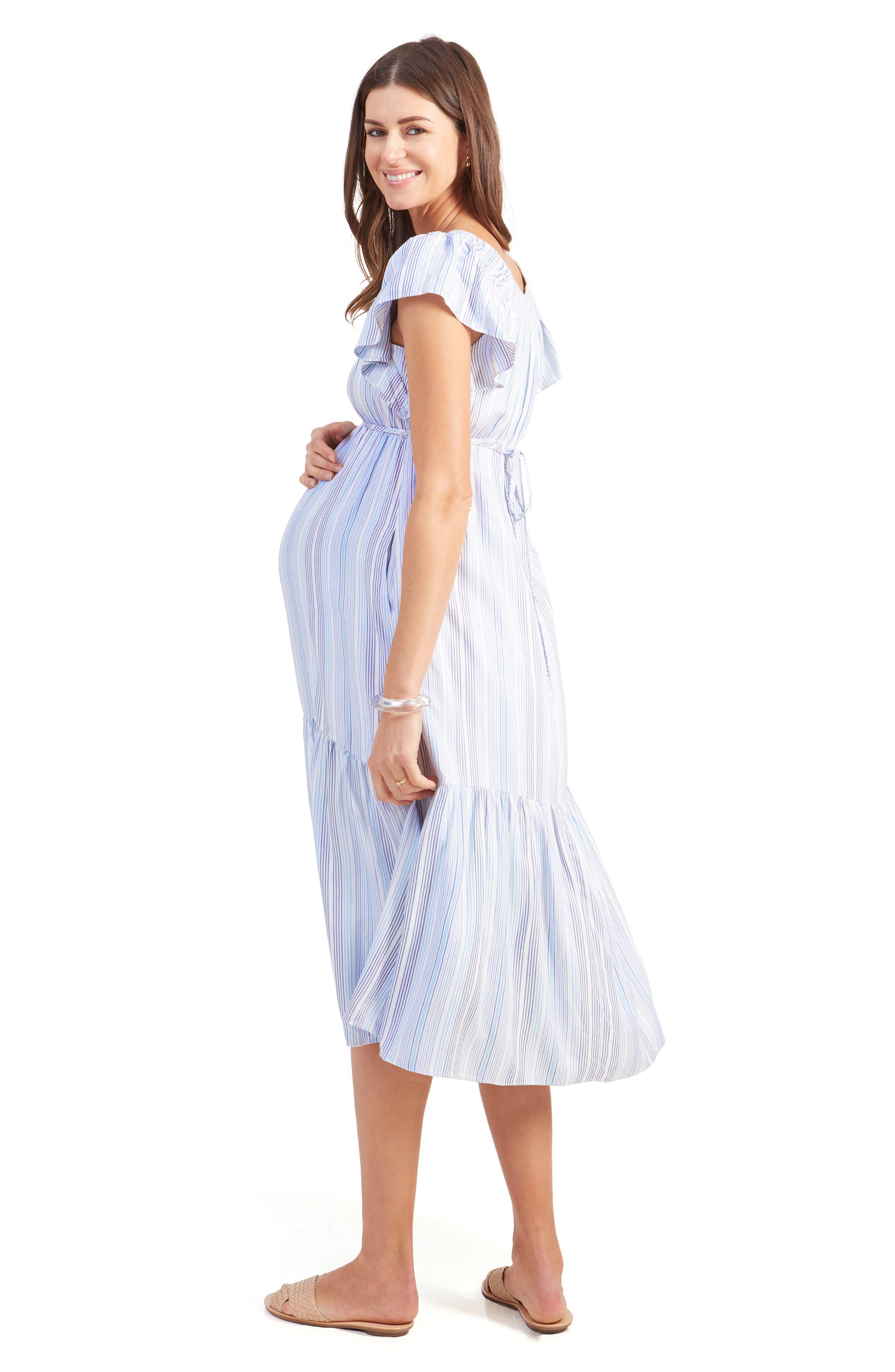 INGRID & ISABEL<SUP>®</SUP>,                             Flutter Sleeve Maternity Midi Dress,                             Alternate thumbnail 5, color,                             BLUE MULTI STRIPE