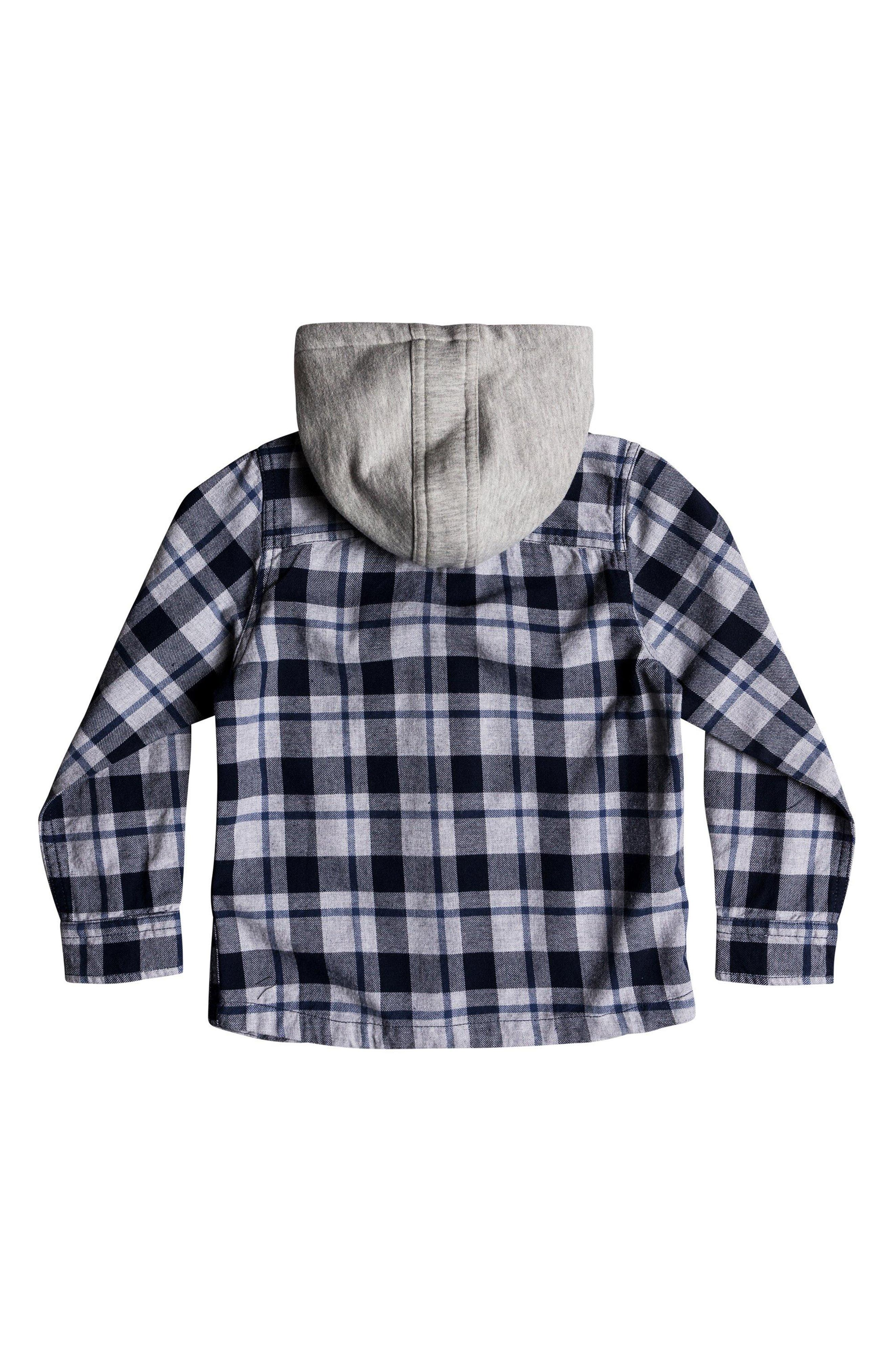 Hooded Flannel Shirt Jacket,                             Alternate thumbnail 2, color,                             NAVY BLAZER
