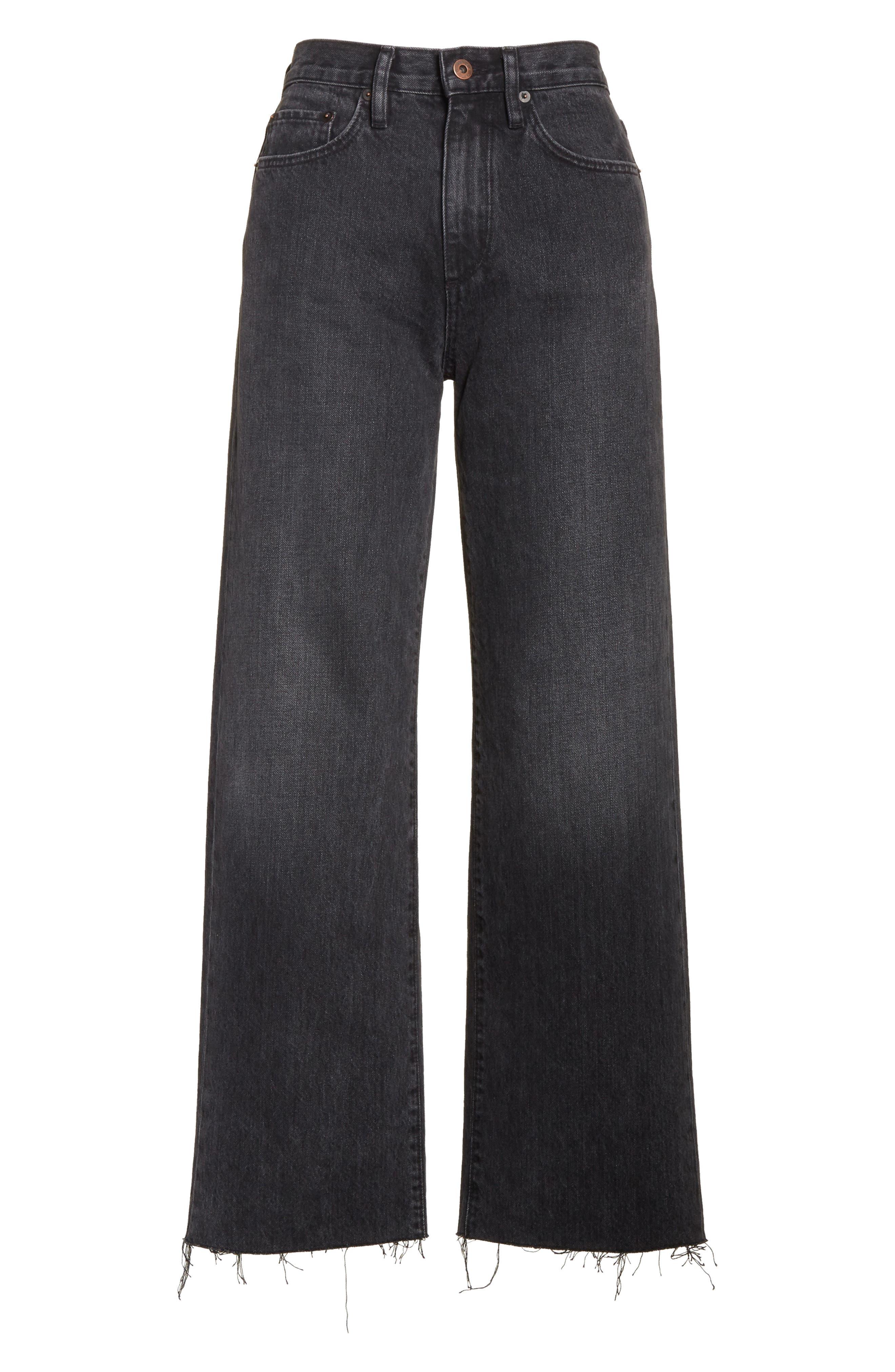 Tilson Crop Frayed Wide Leg Jeans,                             Alternate thumbnail 6, color,                             001