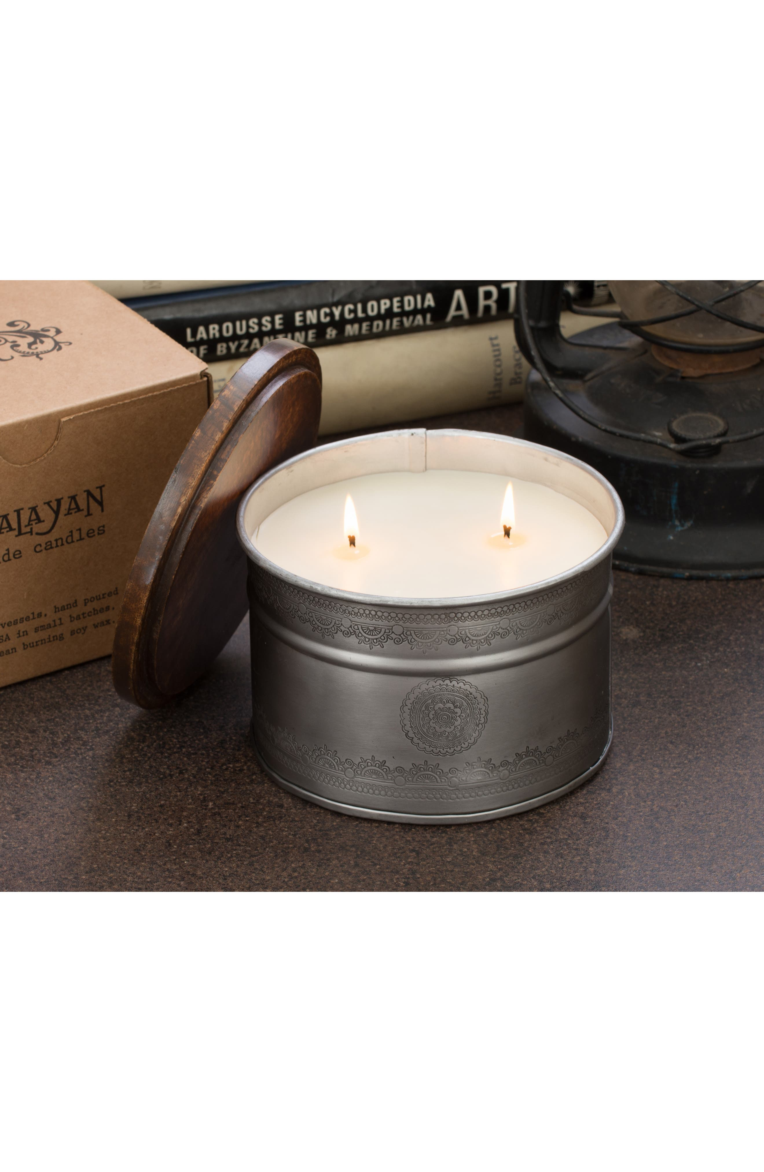 Soy Wax Candle in Etched Iron Pot,                             Alternate thumbnail 2, color,                             040