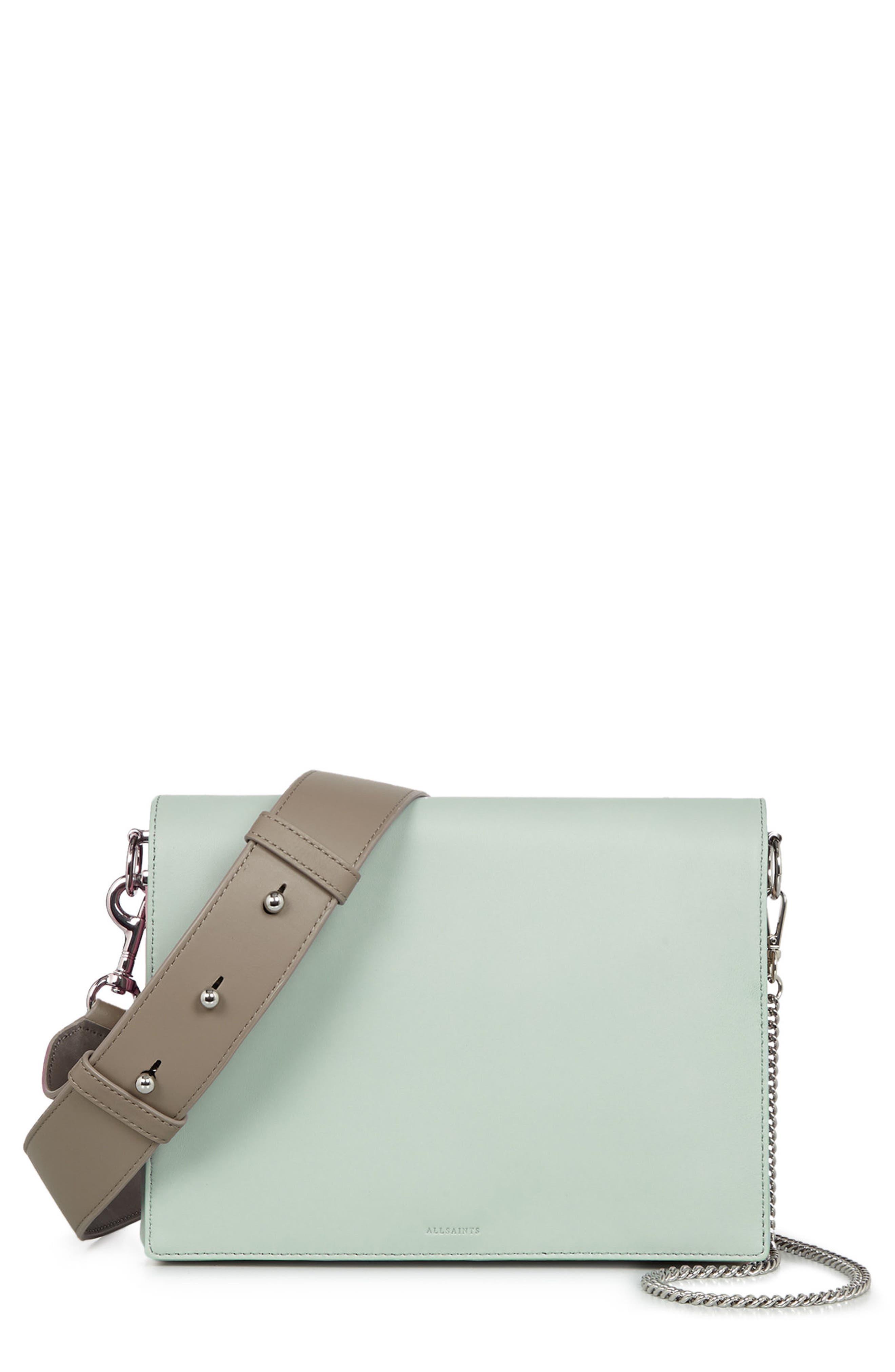 Zep Colorblock Leather Shoulder Bag,                             Main thumbnail 1, color,                             MINT GREEN
