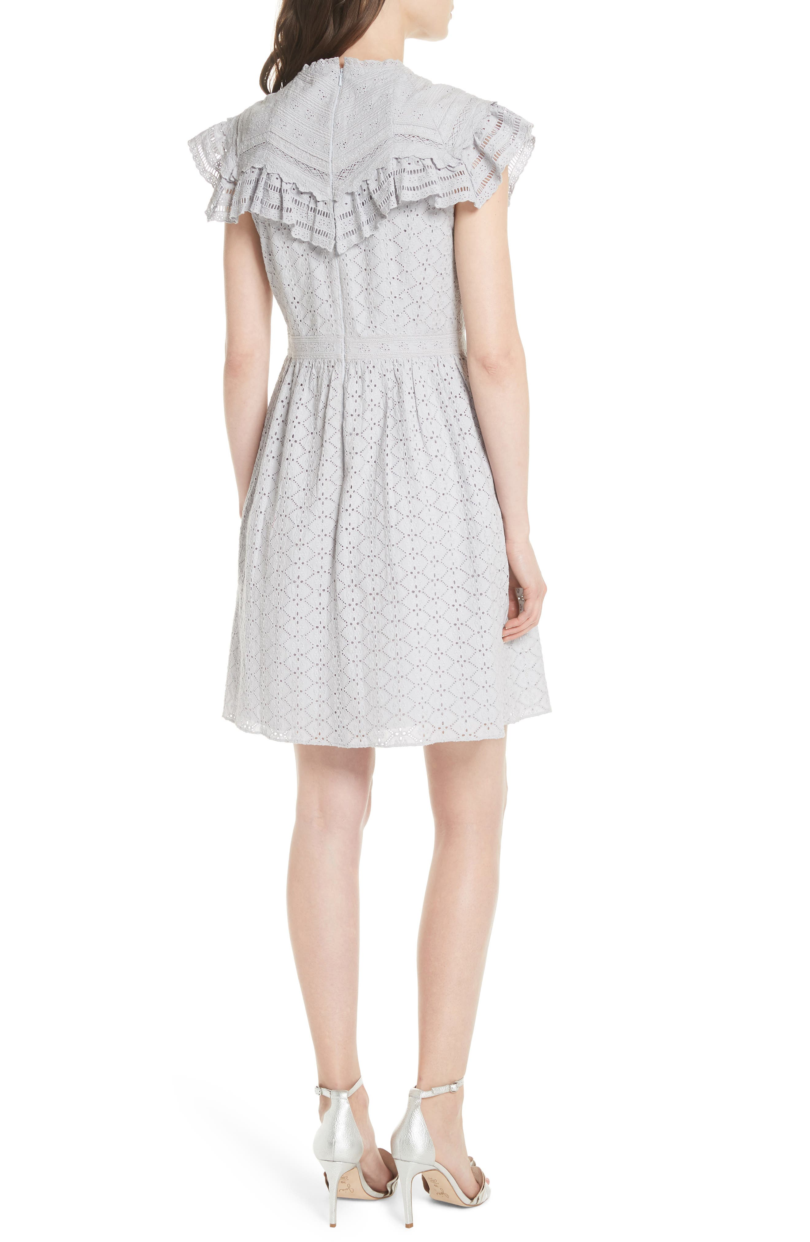 Tiled Broderie Anglaise Lace Dress,                             Alternate thumbnail 2, color,