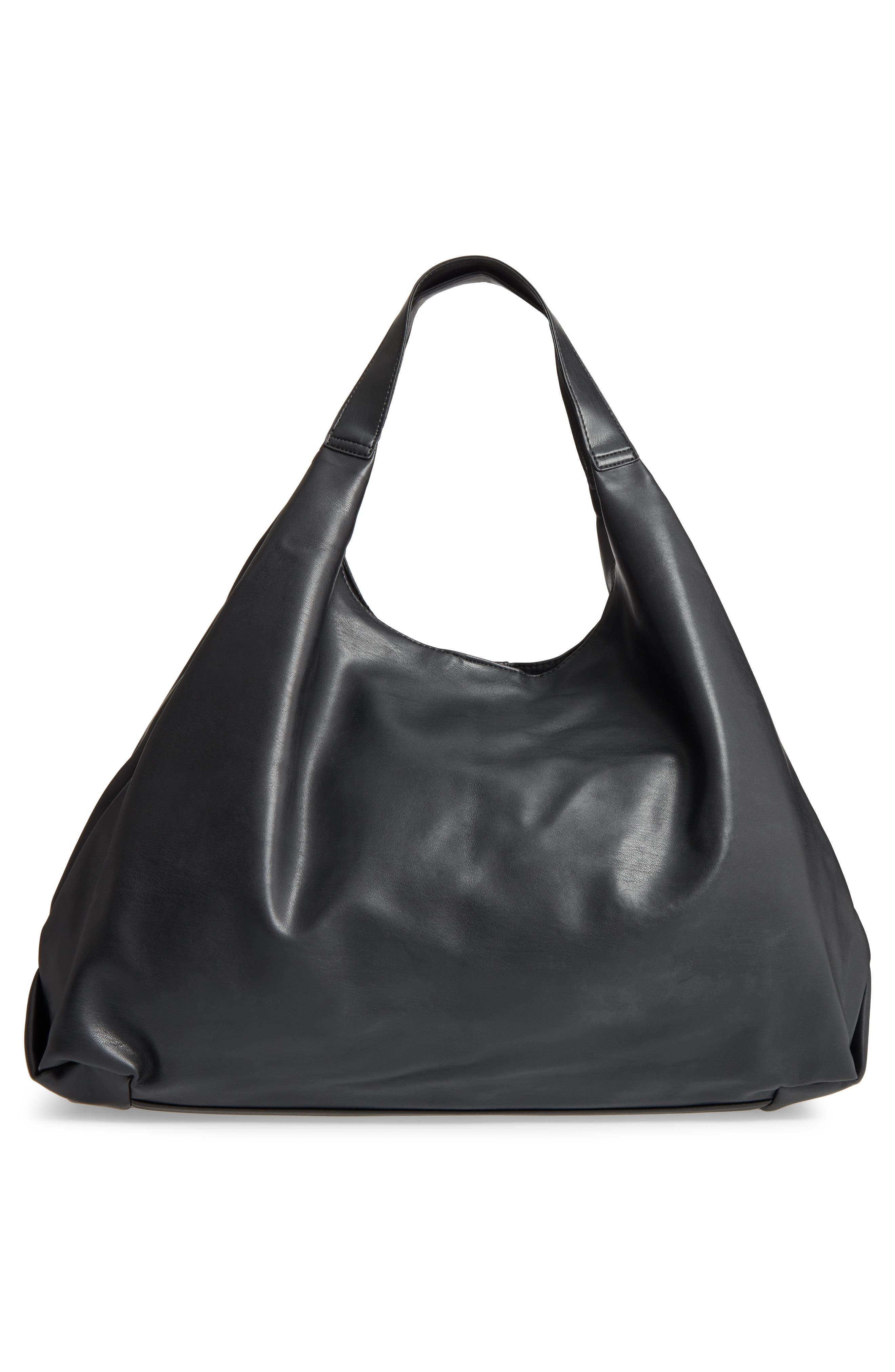Slouchy Faux Leather Hobo,                             Alternate thumbnail 3, color,                             001
