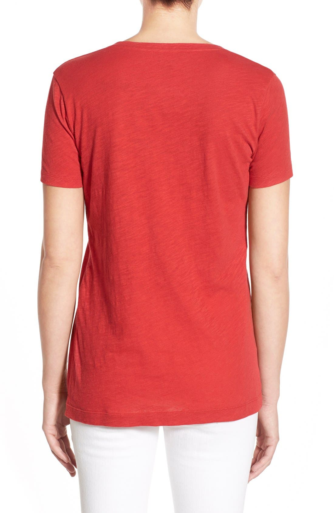 Whisper Cotton V-Neck Pocket Tee,                             Alternate thumbnail 160, color,