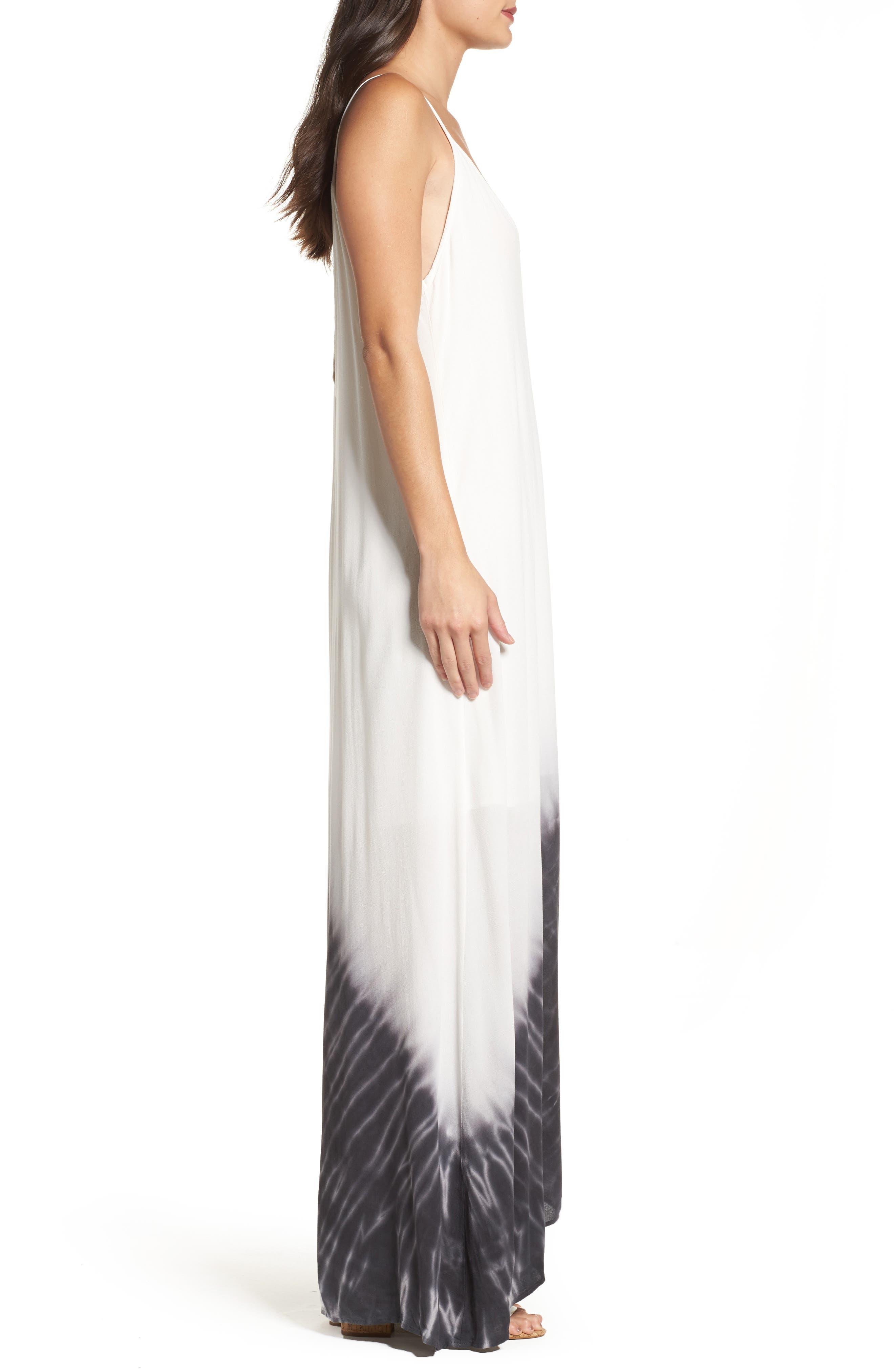 Border Print Crepe A-Line Maxi Dress,                             Alternate thumbnail 4, color,                             100