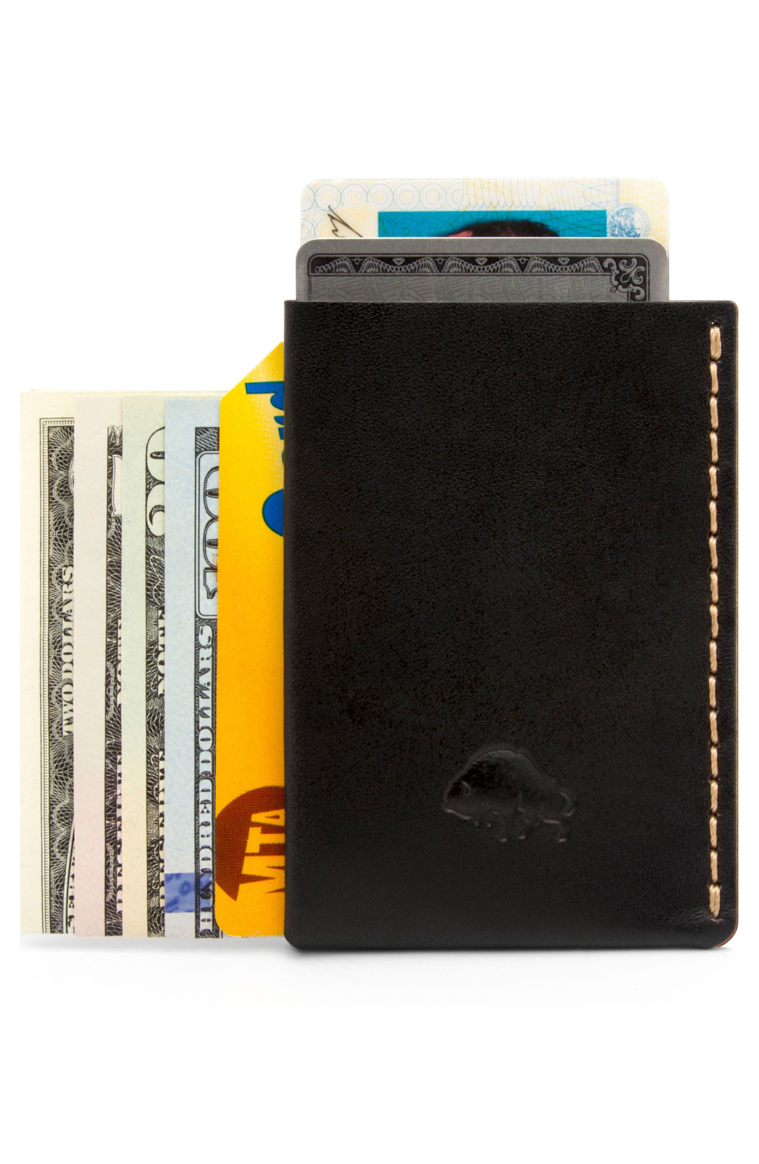 No. 7 Leather Wallet,                             Alternate thumbnail 3, color,                             JET TOP STITCH
