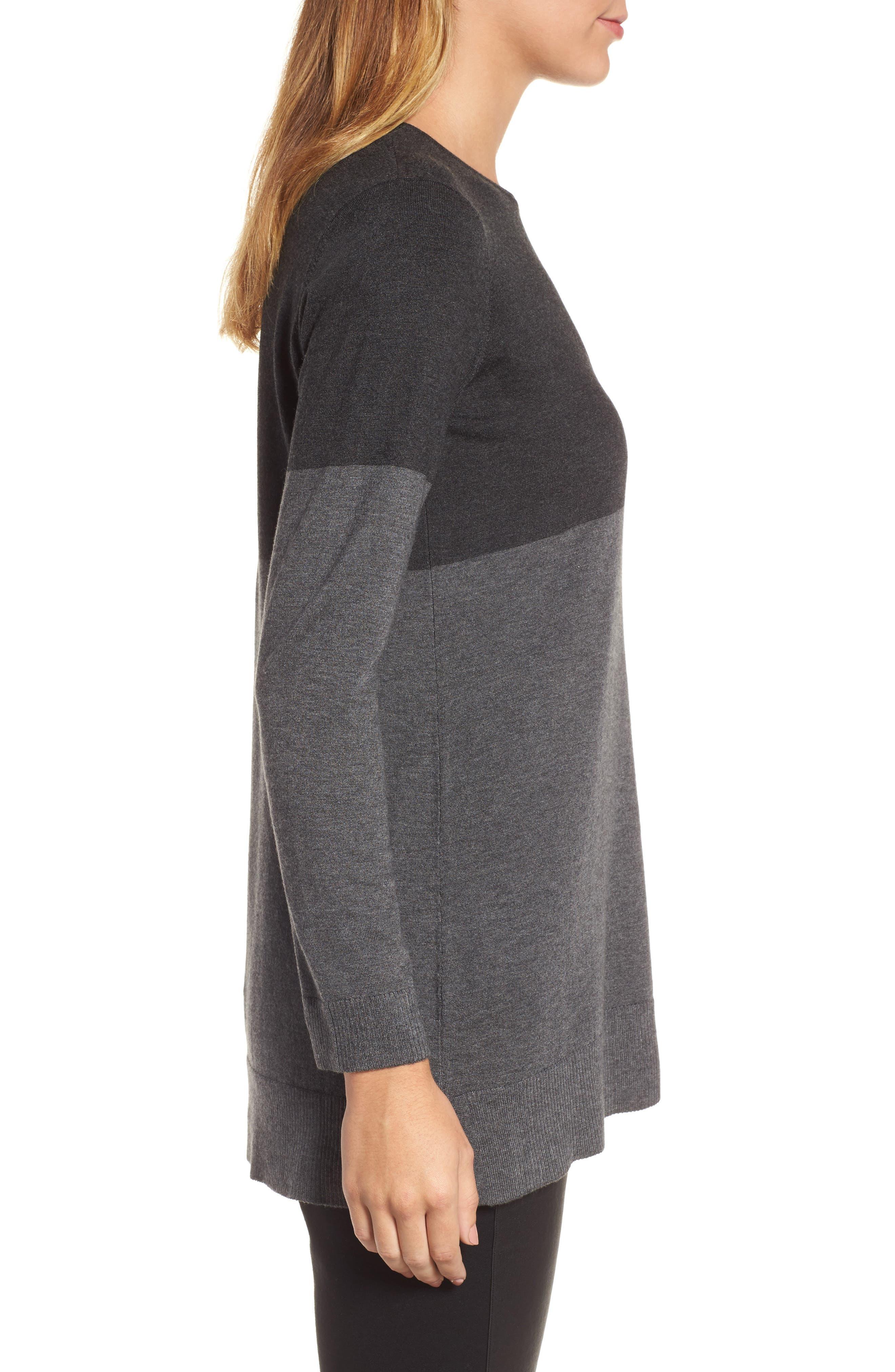 Colorblock Tencel<sup>®</sup> Blend Sweater,                             Alternate thumbnail 3, color,                             064