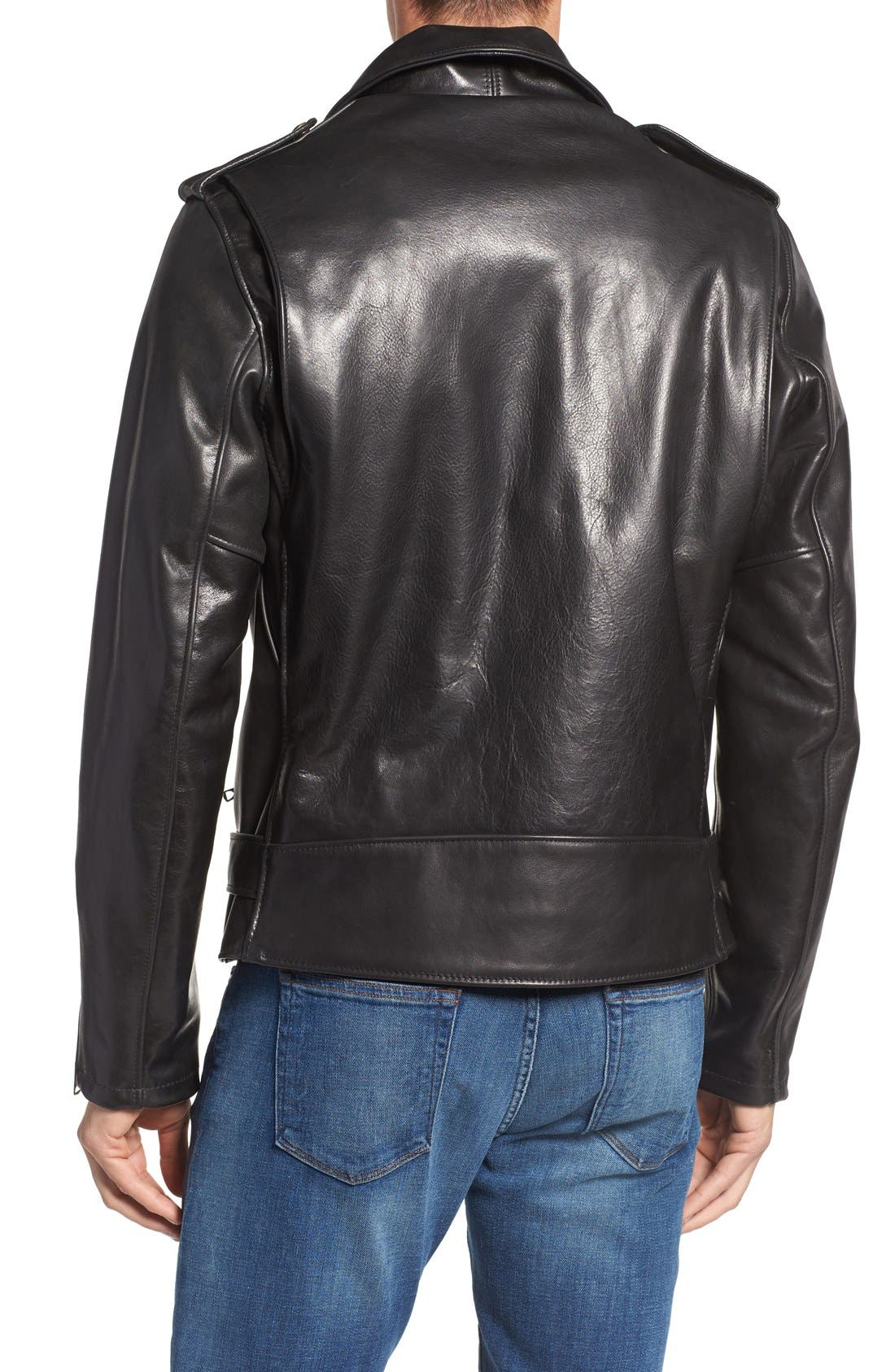 Waxy Leather Moto Jacket,                             Alternate thumbnail 2, color,                             BLACK