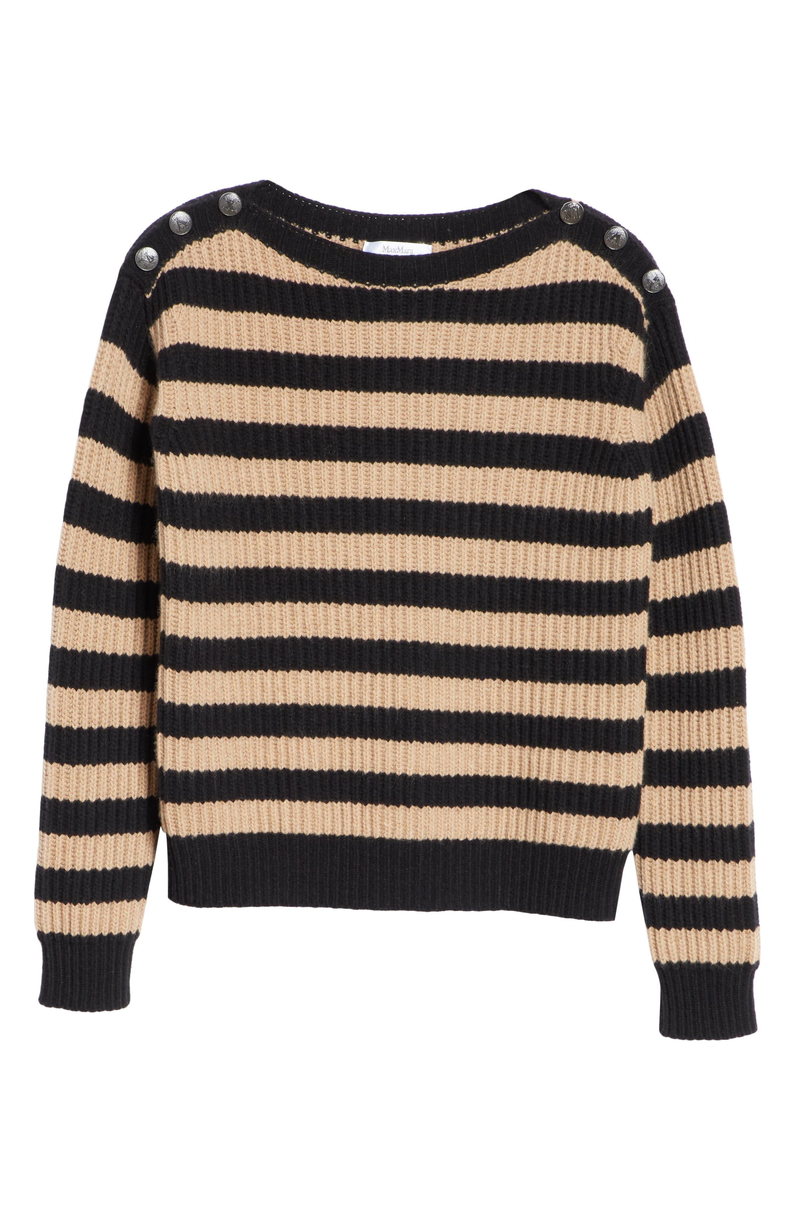 Salpa Stripe Wool & Cashmere Pullover,                             Alternate thumbnail 6, color,                             STRIPED CAMEL