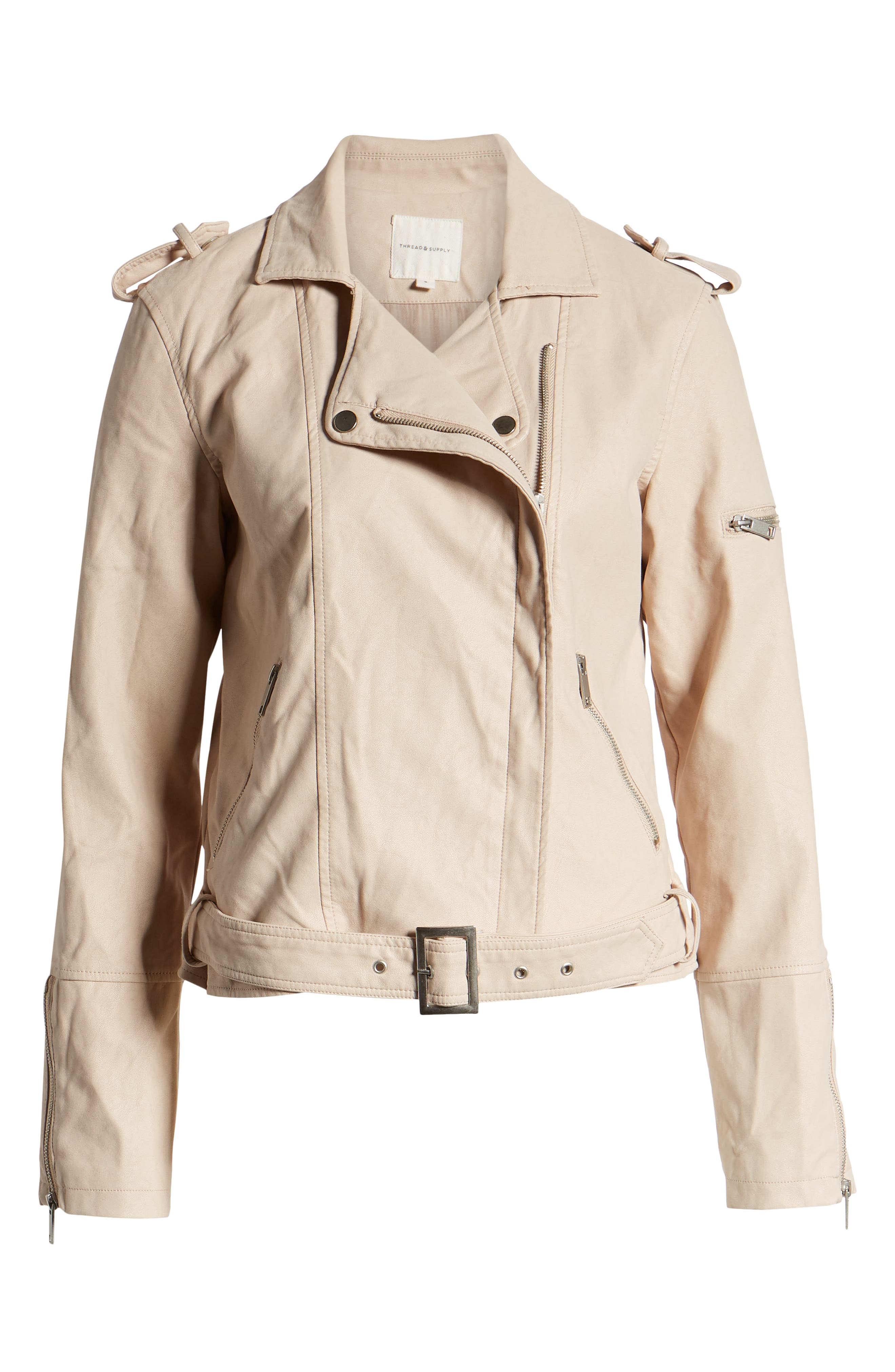 THREAD & SUPPLY,                             Mitch Faux Leather Moto Jacket,                             Alternate thumbnail 6, color,                             BLUSHING PINK