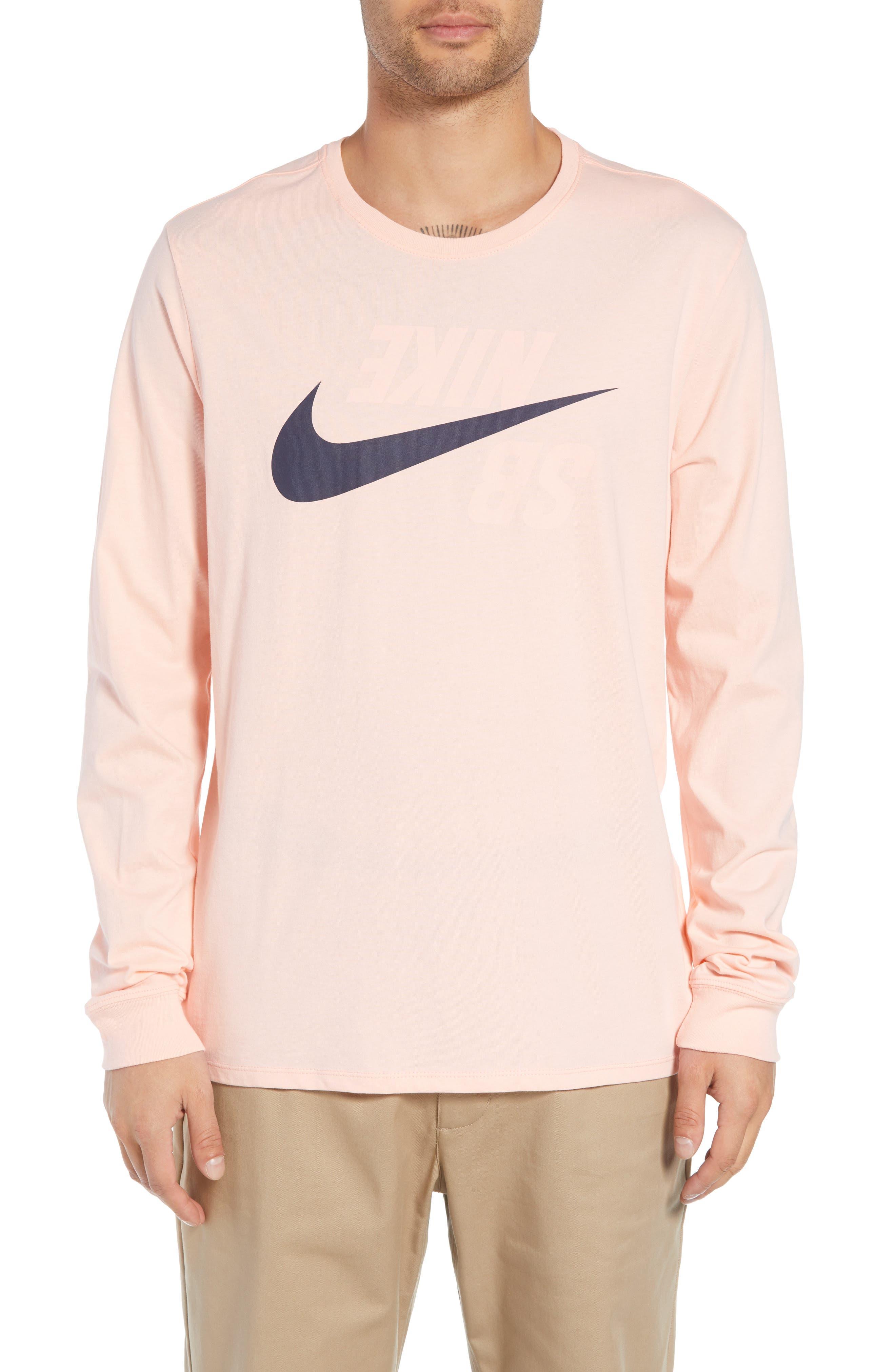 Nike Sb Backwards Long Sleeve T-Shirt, Pink