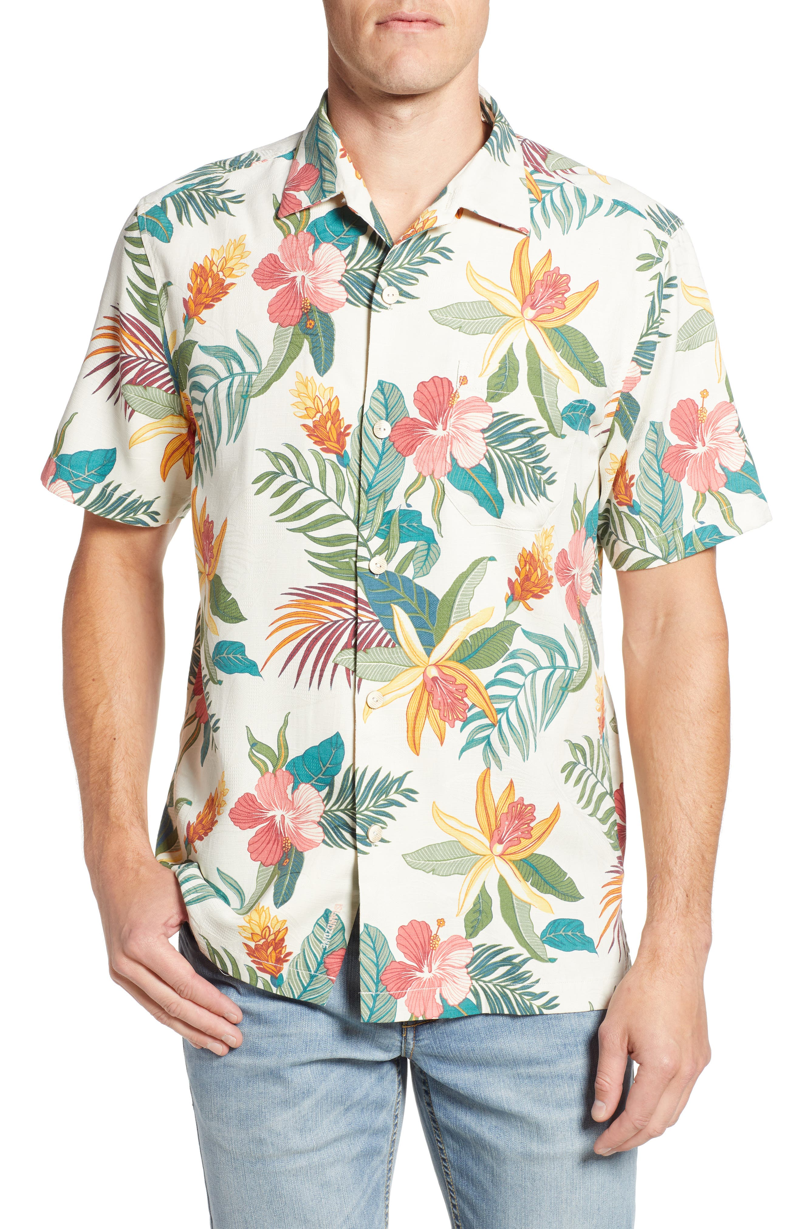 Beach Crest Blooms Short Sleeve Silk Blend Sport Shirt,                             Main thumbnail 1, color,                             CONTINENTAL