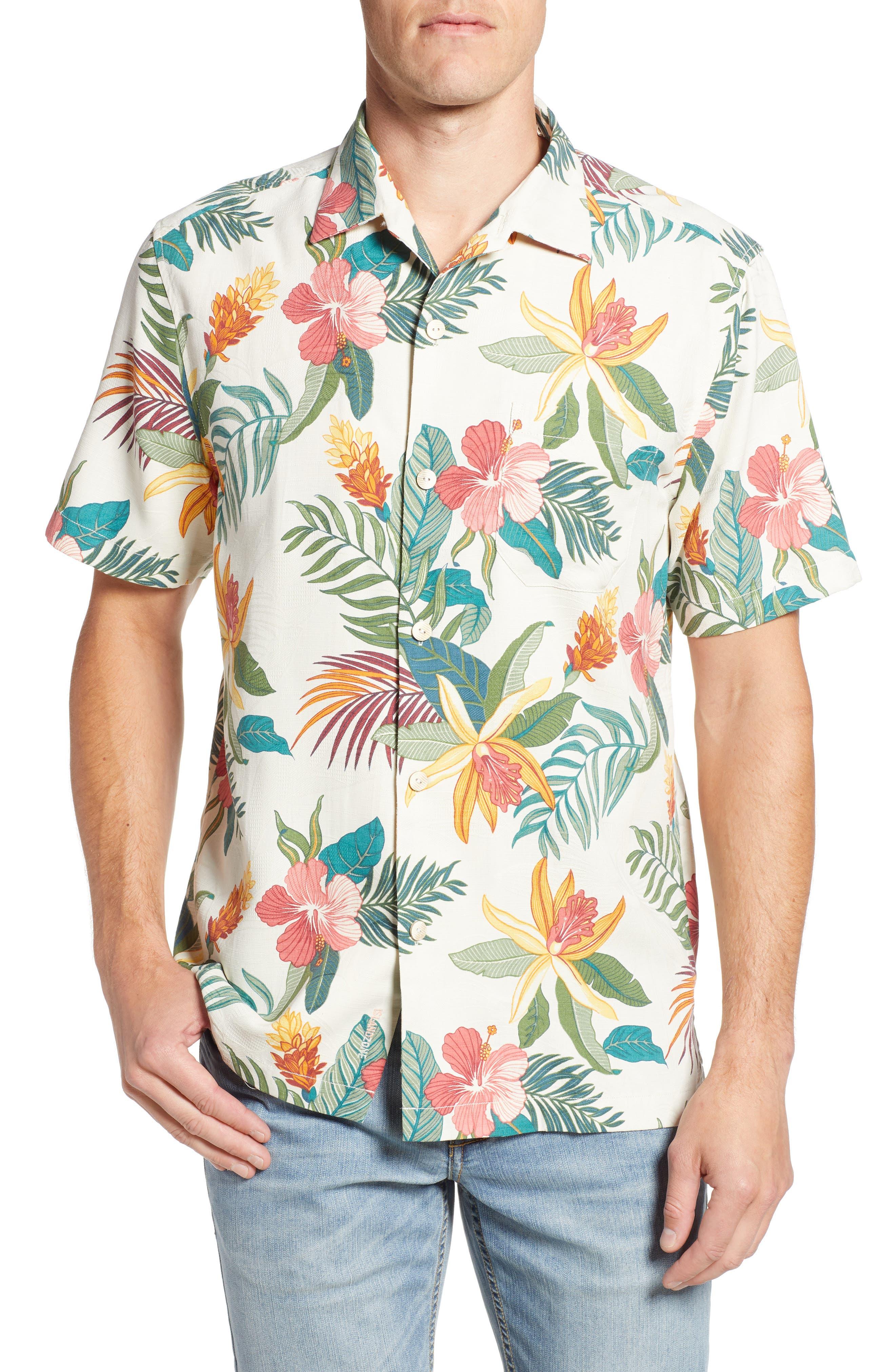 Beach Crest Blooms Short Sleeve Silk Blend Sport Shirt,                         Main,                         color, CONTINENTAL