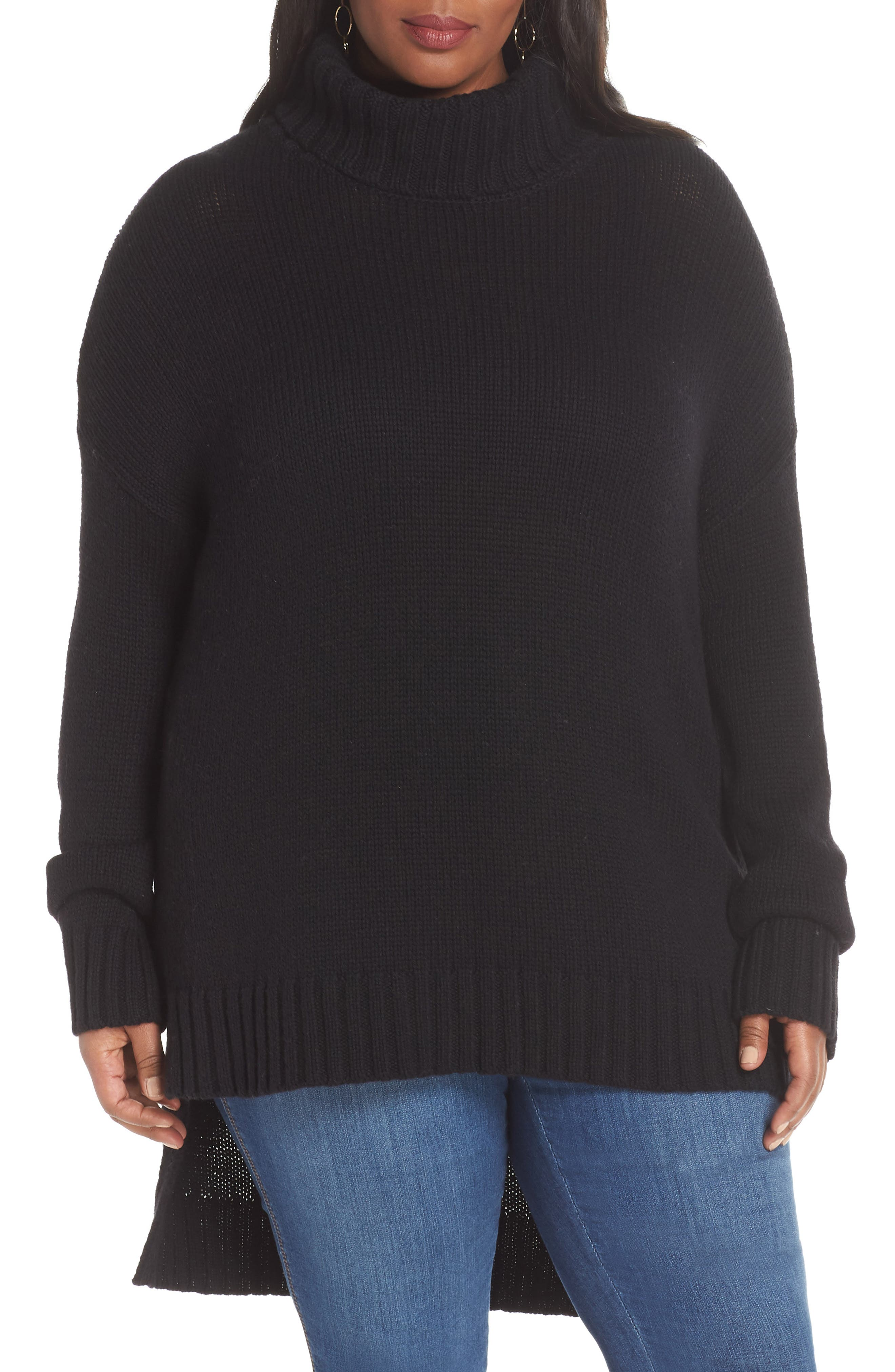 High/Low Turtleneck Sweater,                             Main thumbnail 1, color,                             BLACK