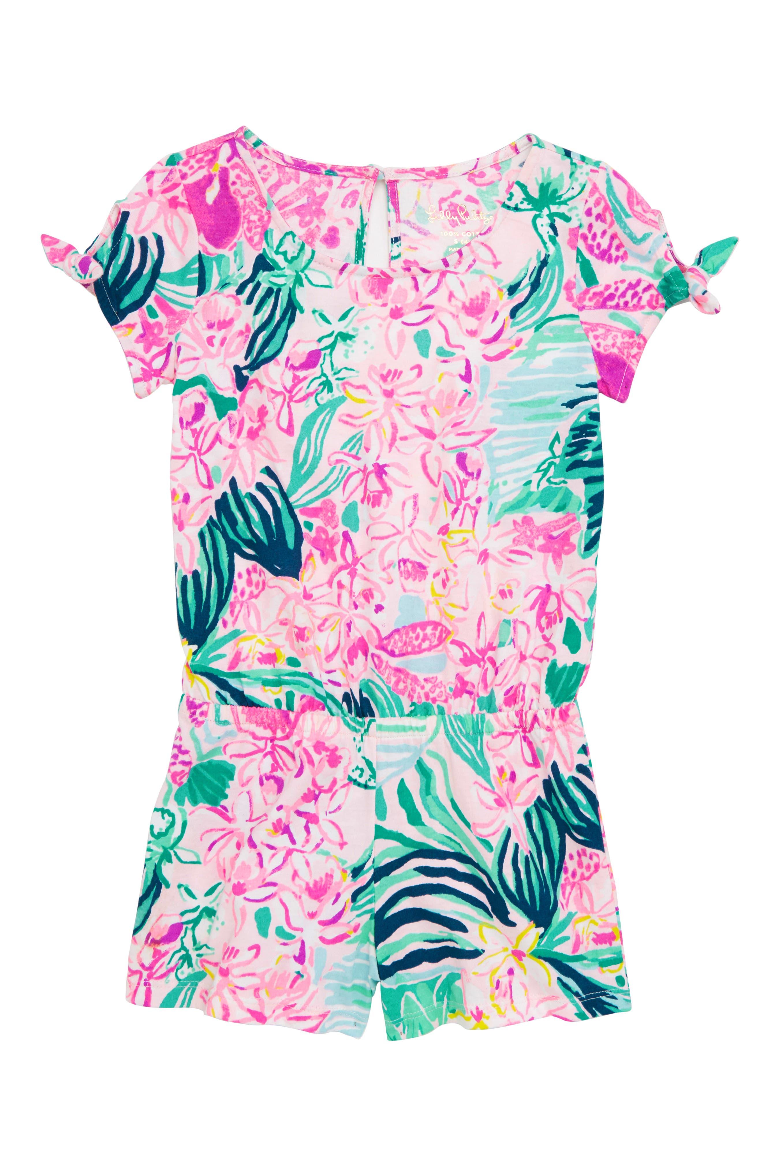 Girls Lilly Pulitzer Camryn Tie Sleeve Romper Size XL (1214)  Green