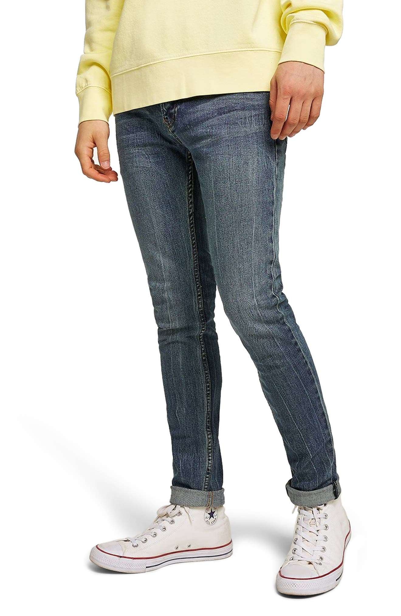 Stretch Skinny Fit Jeans,                         Main,                         color, BLUE