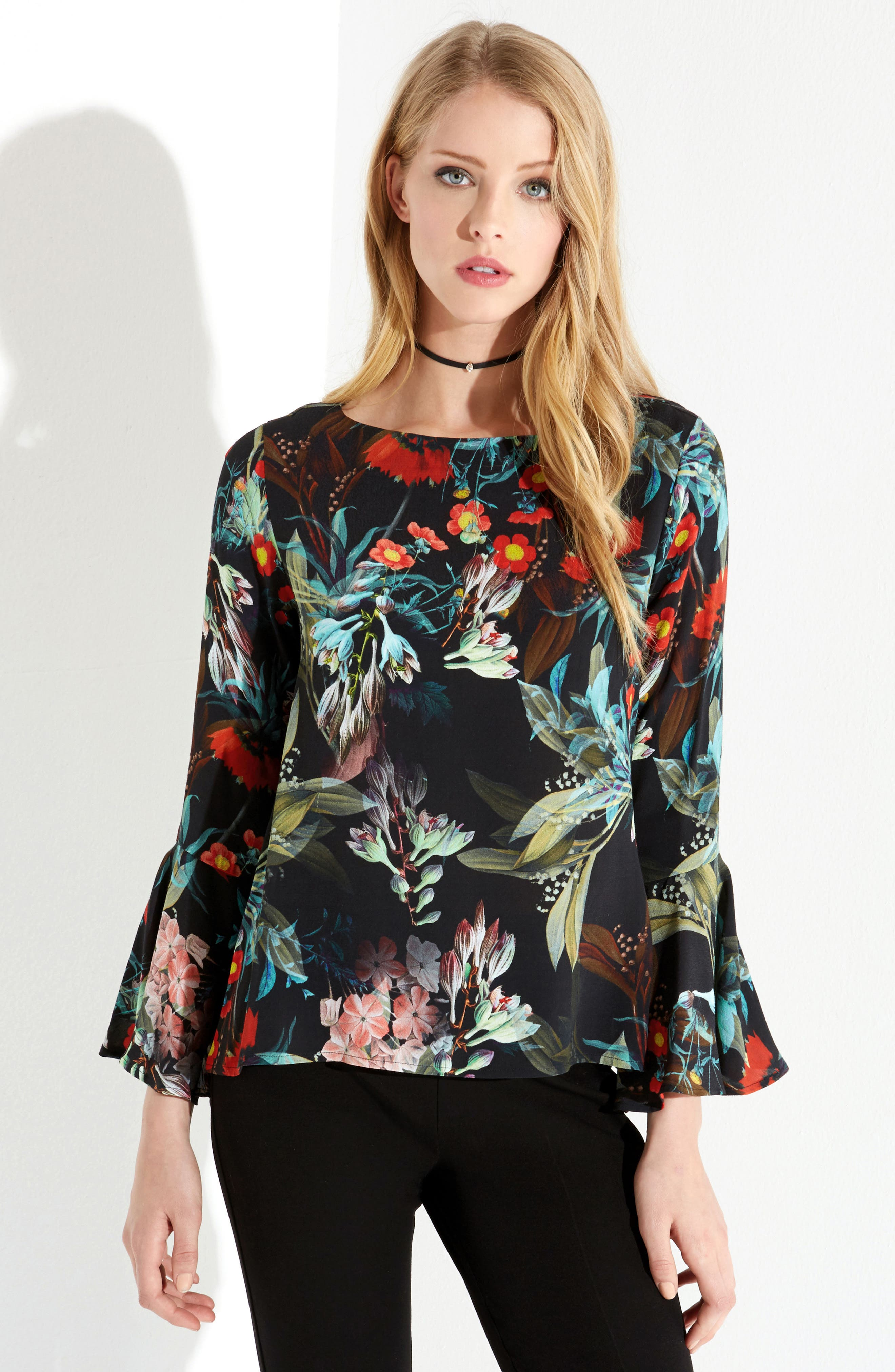Bell Sleeve Top,                             Alternate thumbnail 3, color,