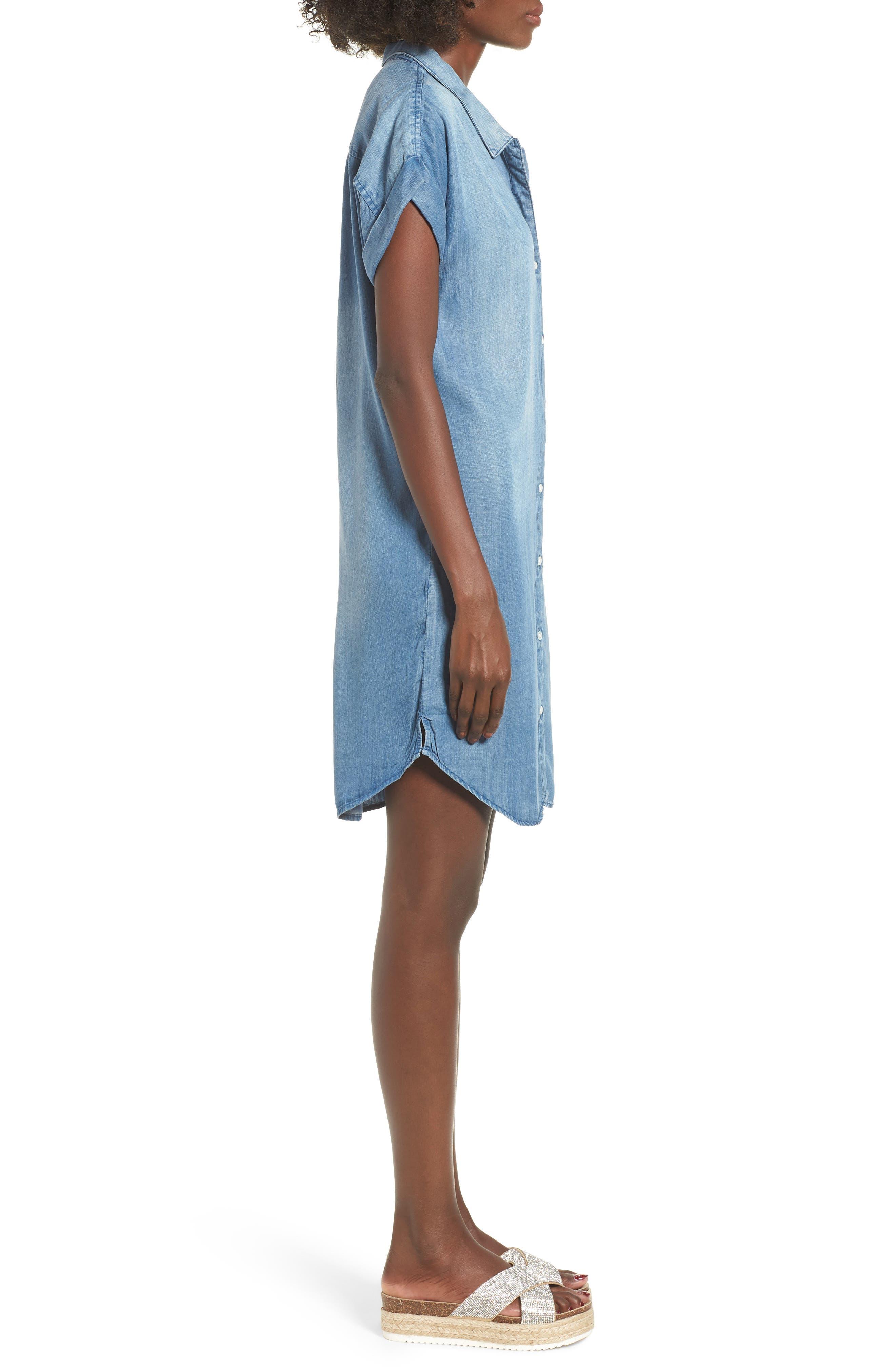 Reagan Chambray Dress,                             Alternate thumbnail 3, color,                             400