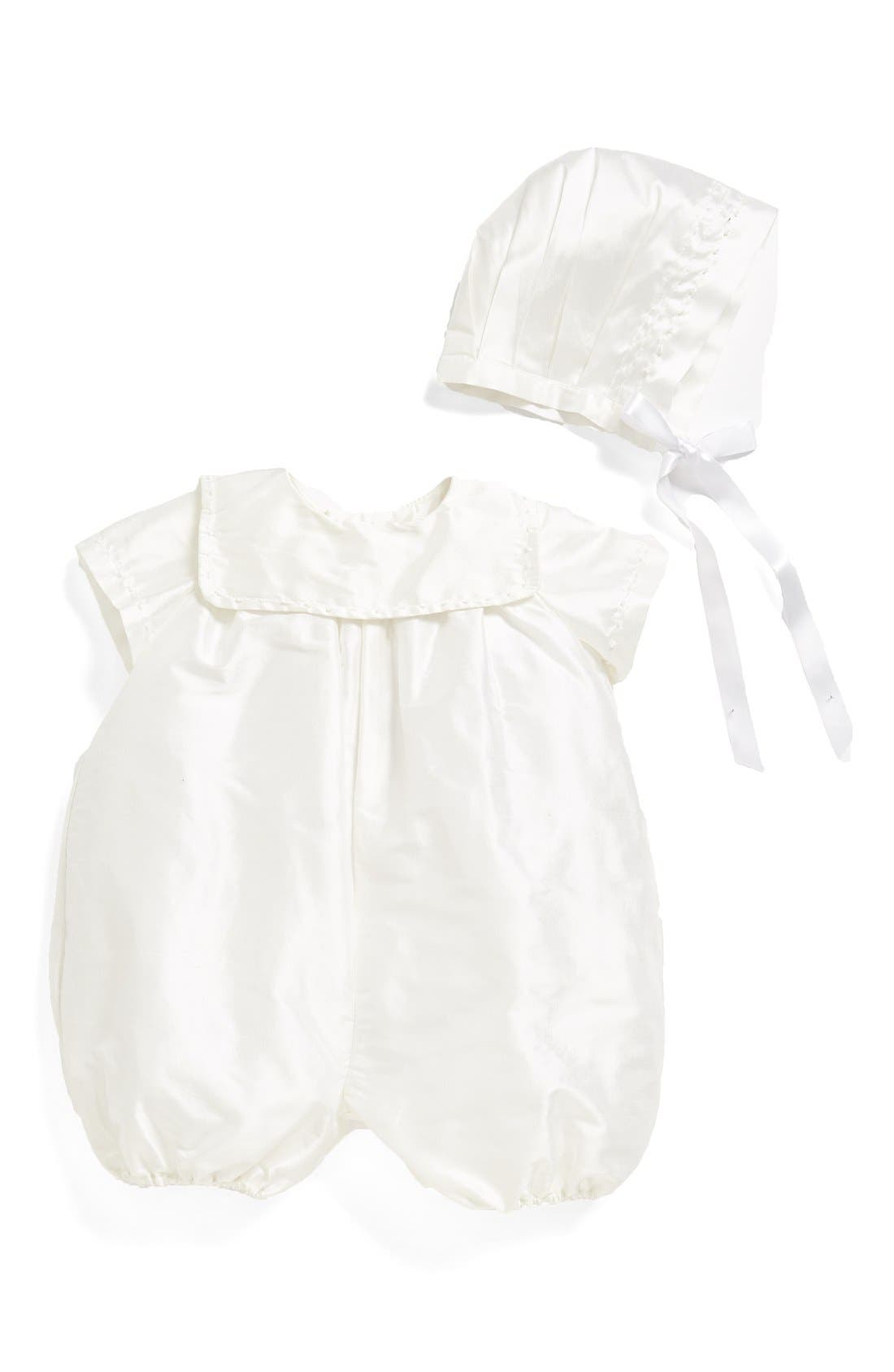 'Charming' Silk Romper & Bonnet,                             Main thumbnail 1, color,                             WHITE
