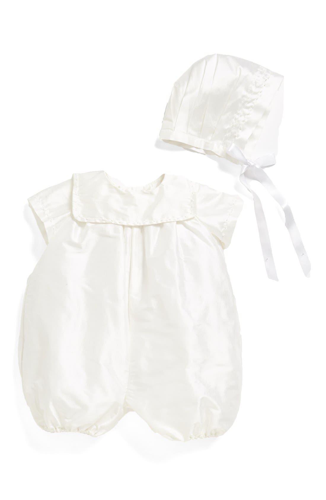 'Charming' Silk Romper & Bonnet,                         Main,                         color, WHITE