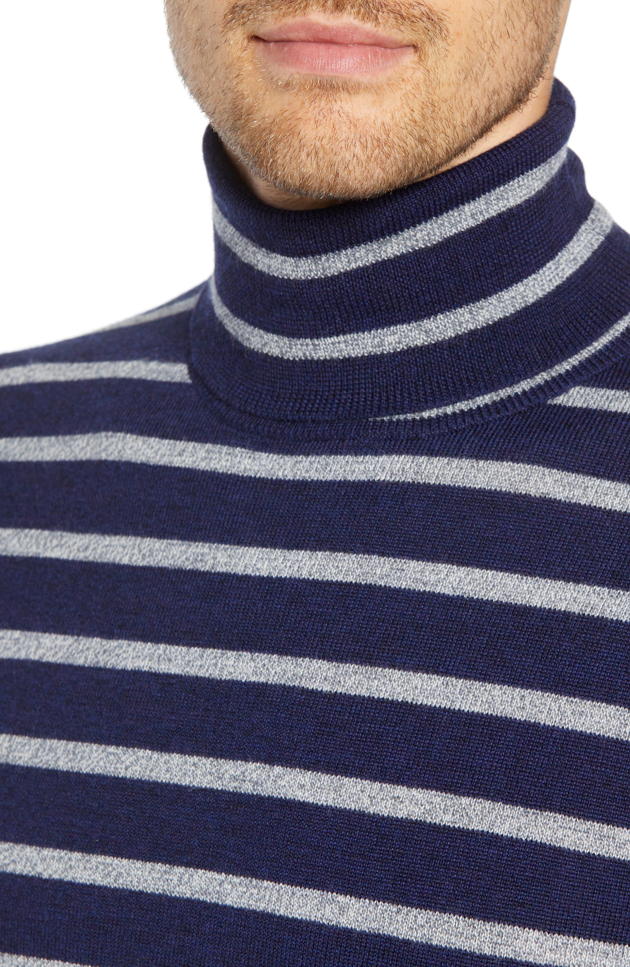 Slim Fit Turtleneck Merino Wool Sweater,                             Alternate thumbnail 4, color,                             HEATHER INK/ COOL GREY