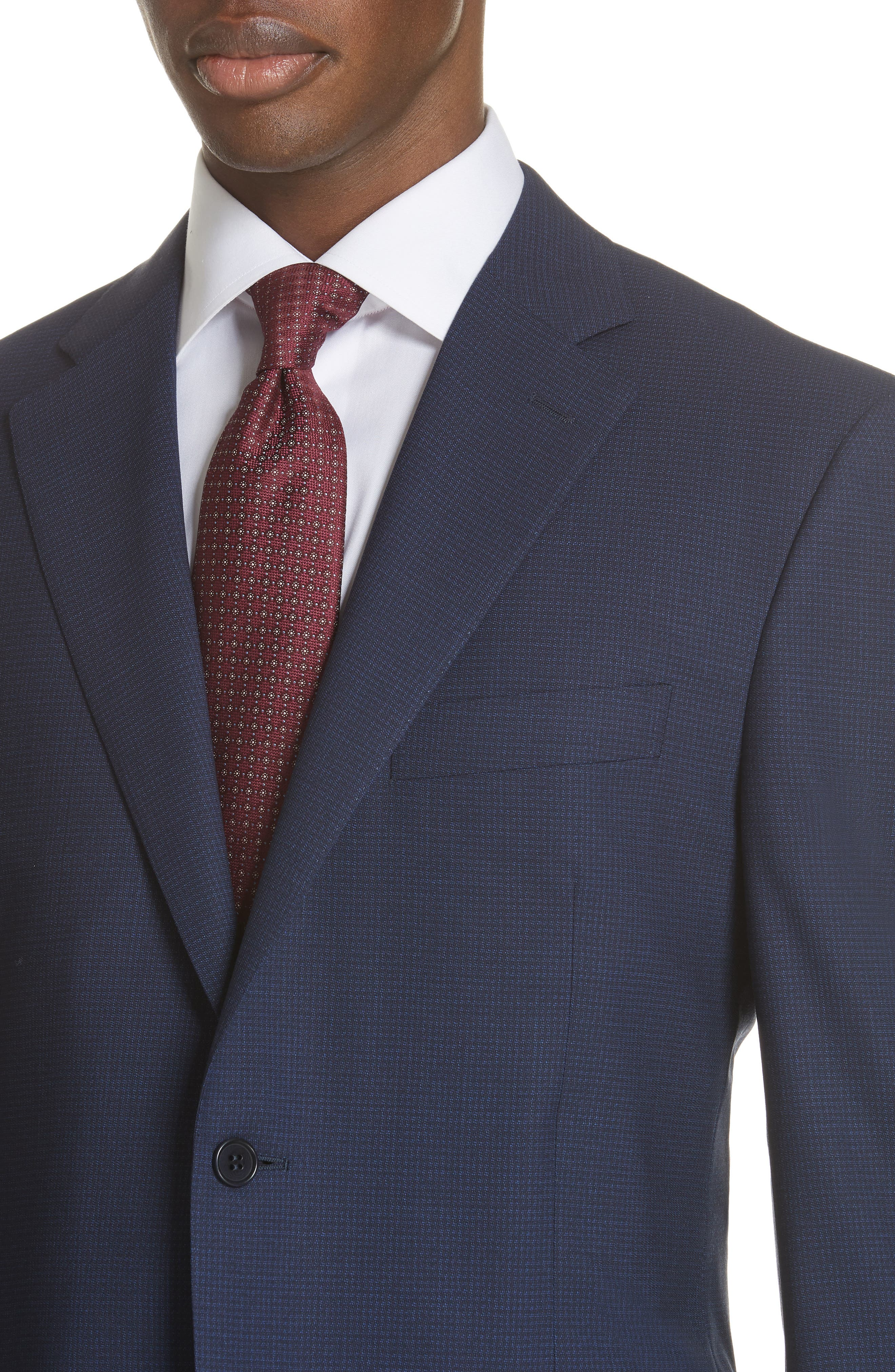 CANALI,                             Classic Fit Check Wool Suit,                             Alternate thumbnail 4, color,                             400