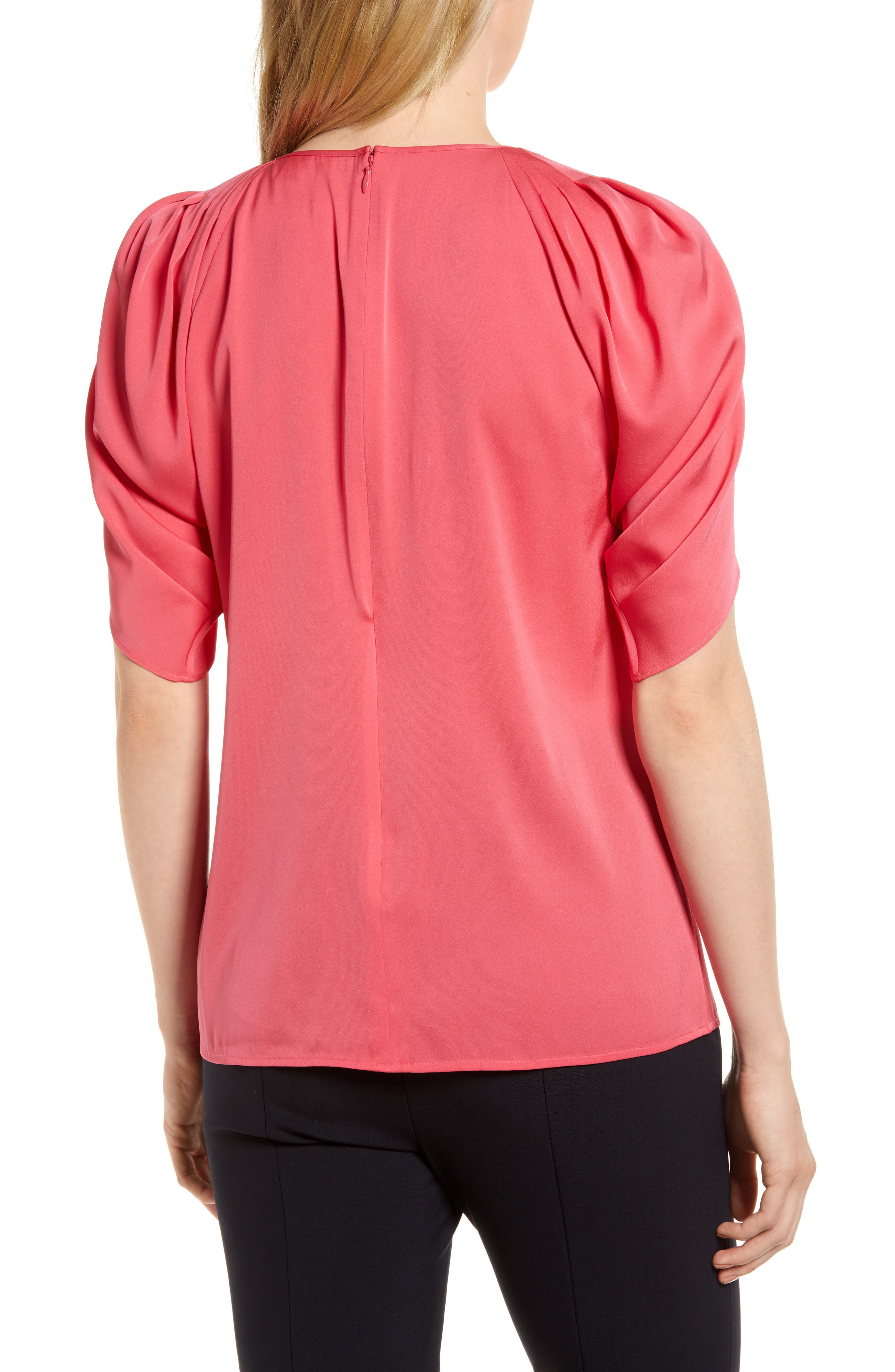 Draped Sleeve Stretch Silk Top,                             Alternate thumbnail 9, color,