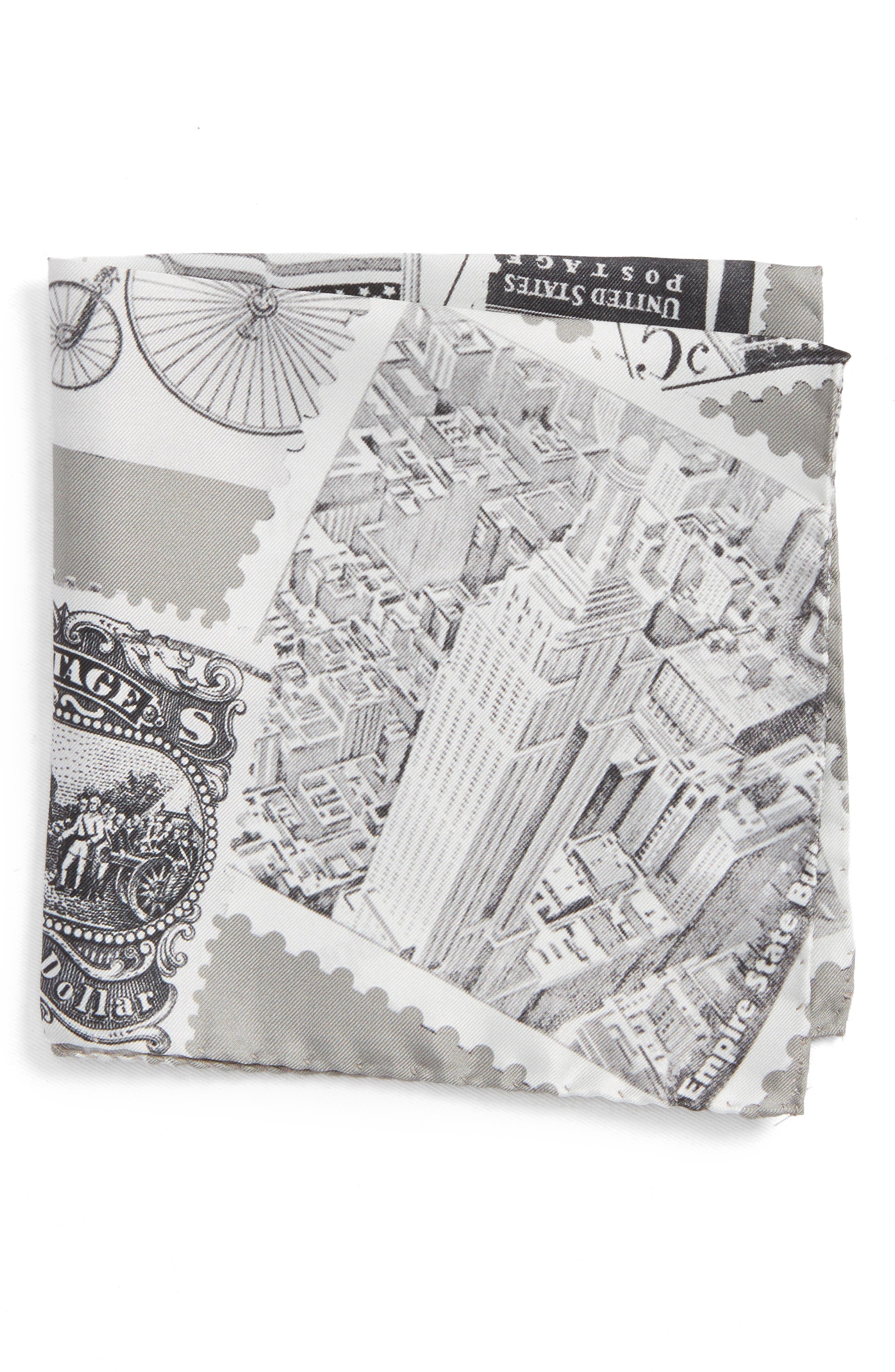 New York Stamp Silk Pocket Square,                         Main,                         color, GREY