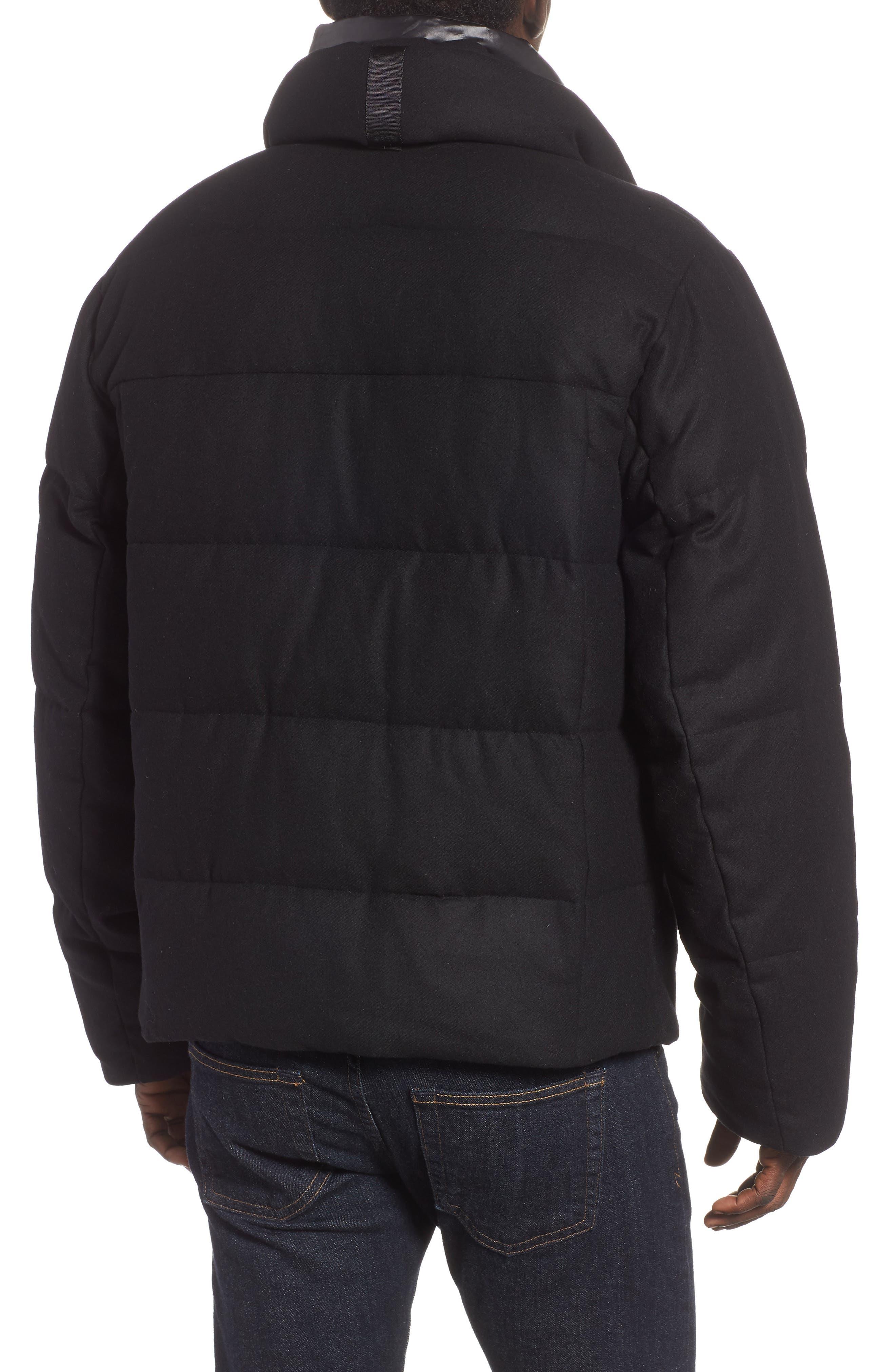 Wool Blend Puffer Jacket,                             Alternate thumbnail 2, color,                             BLACK
