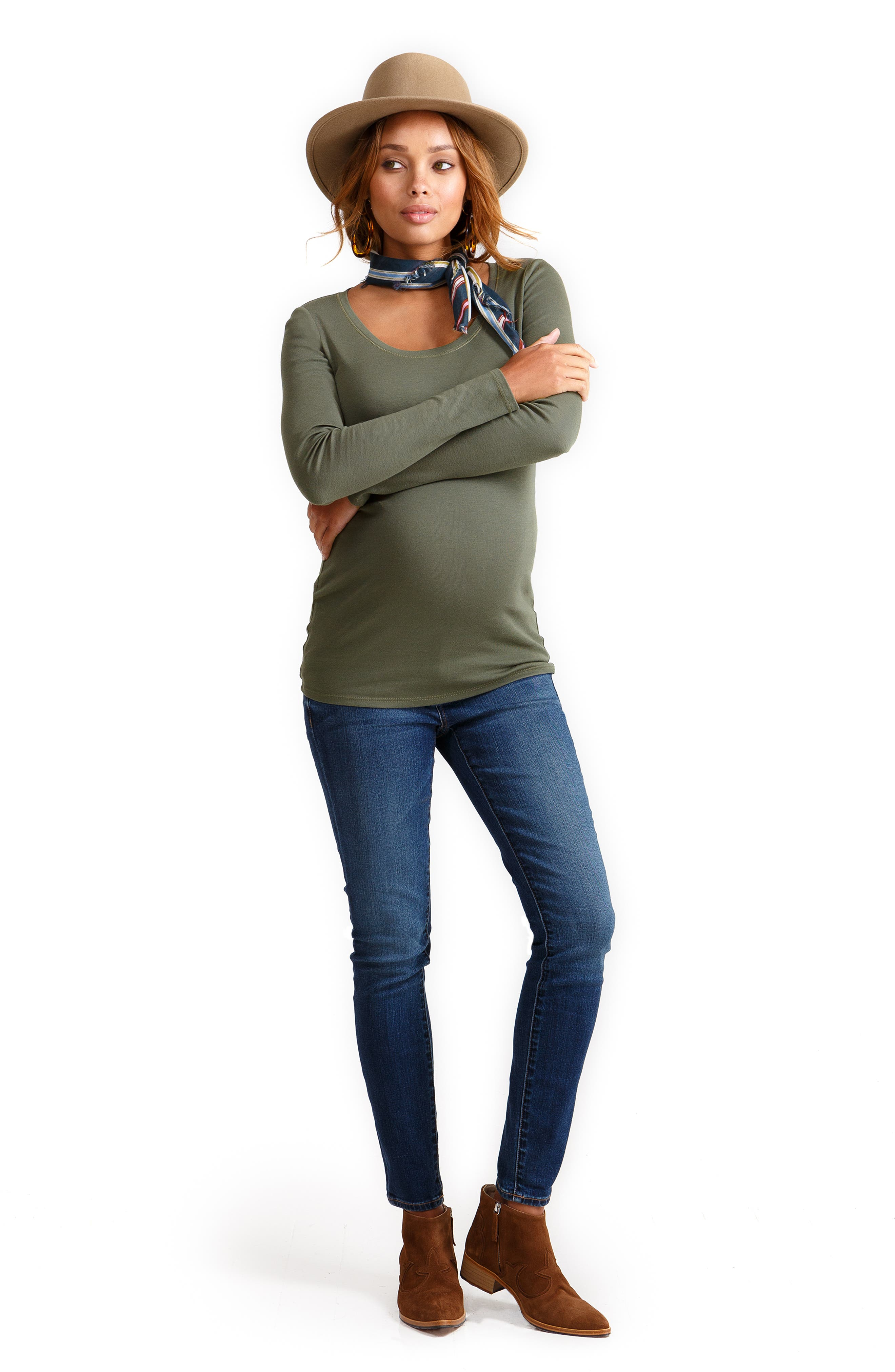 Scoop Neck Maternity Tee,                             Alternate thumbnail 4, color,                             OLIVE