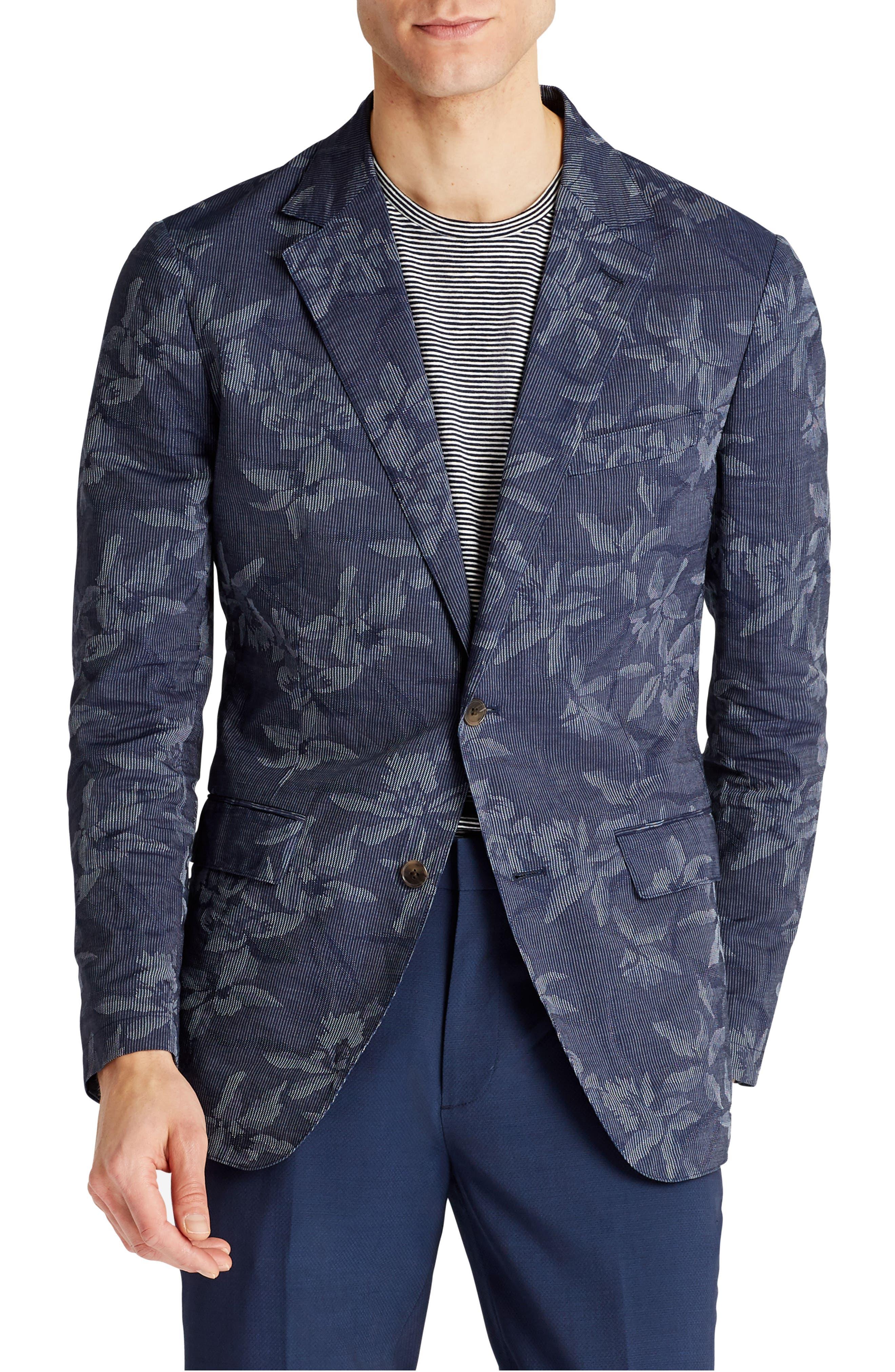 Slim Fit Floral Cotton Blend Sport Coat,                         Main,                         color, 420