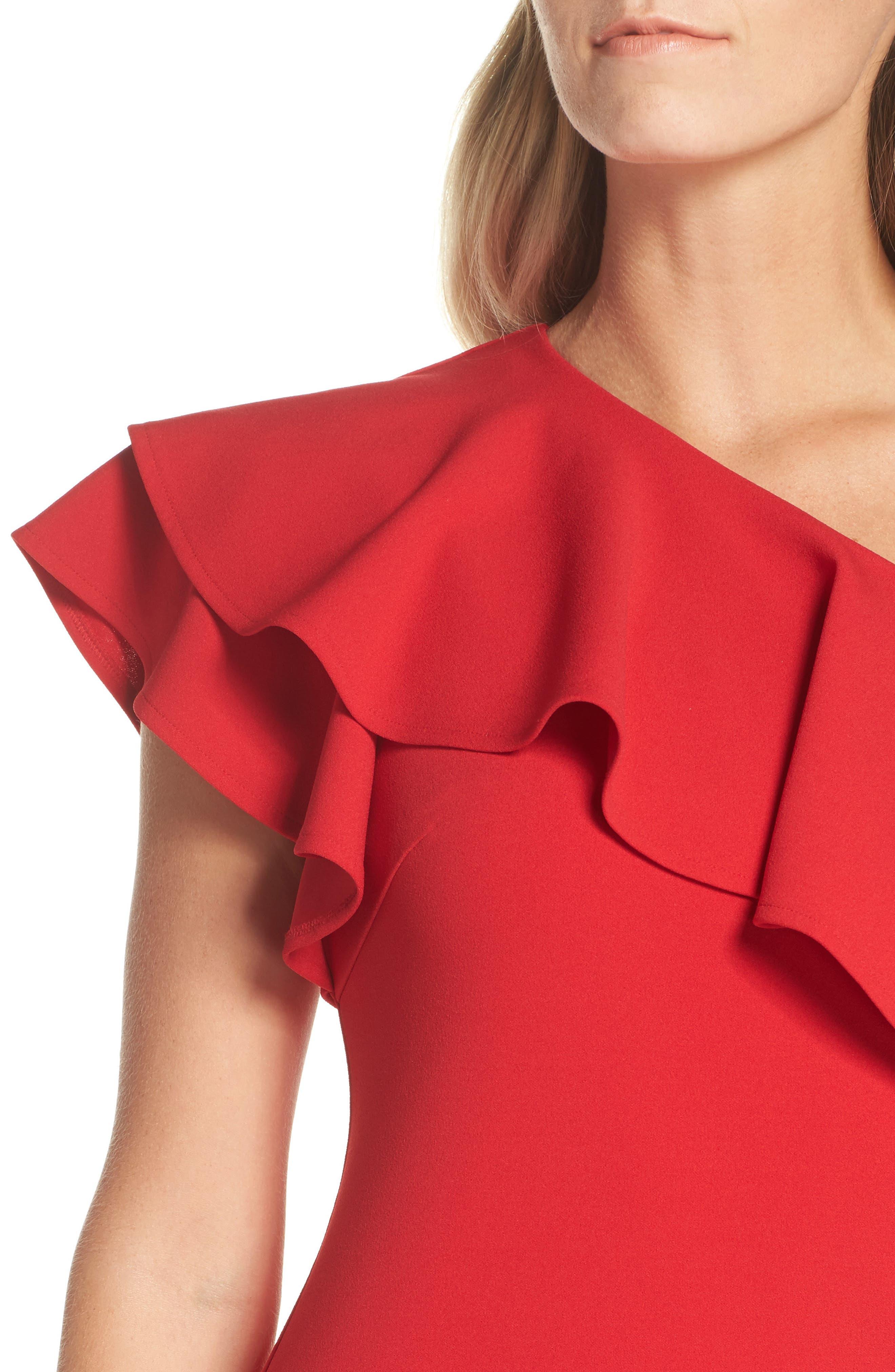 One-Shoulder Ruffle Dress,                             Alternate thumbnail 8, color,