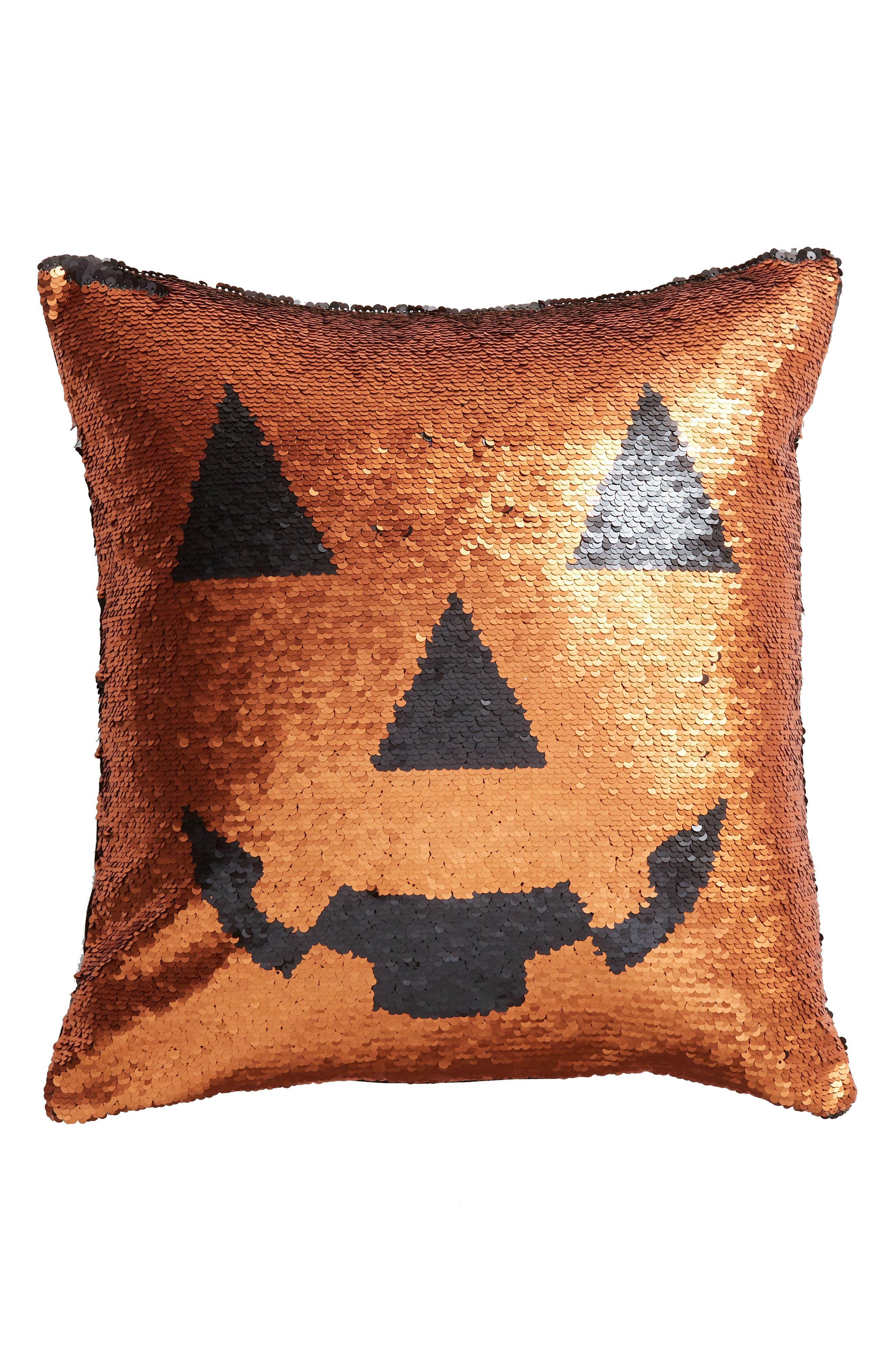 Pumpkin Sequin Accent Pillow,                             Main thumbnail 1, color,                             800