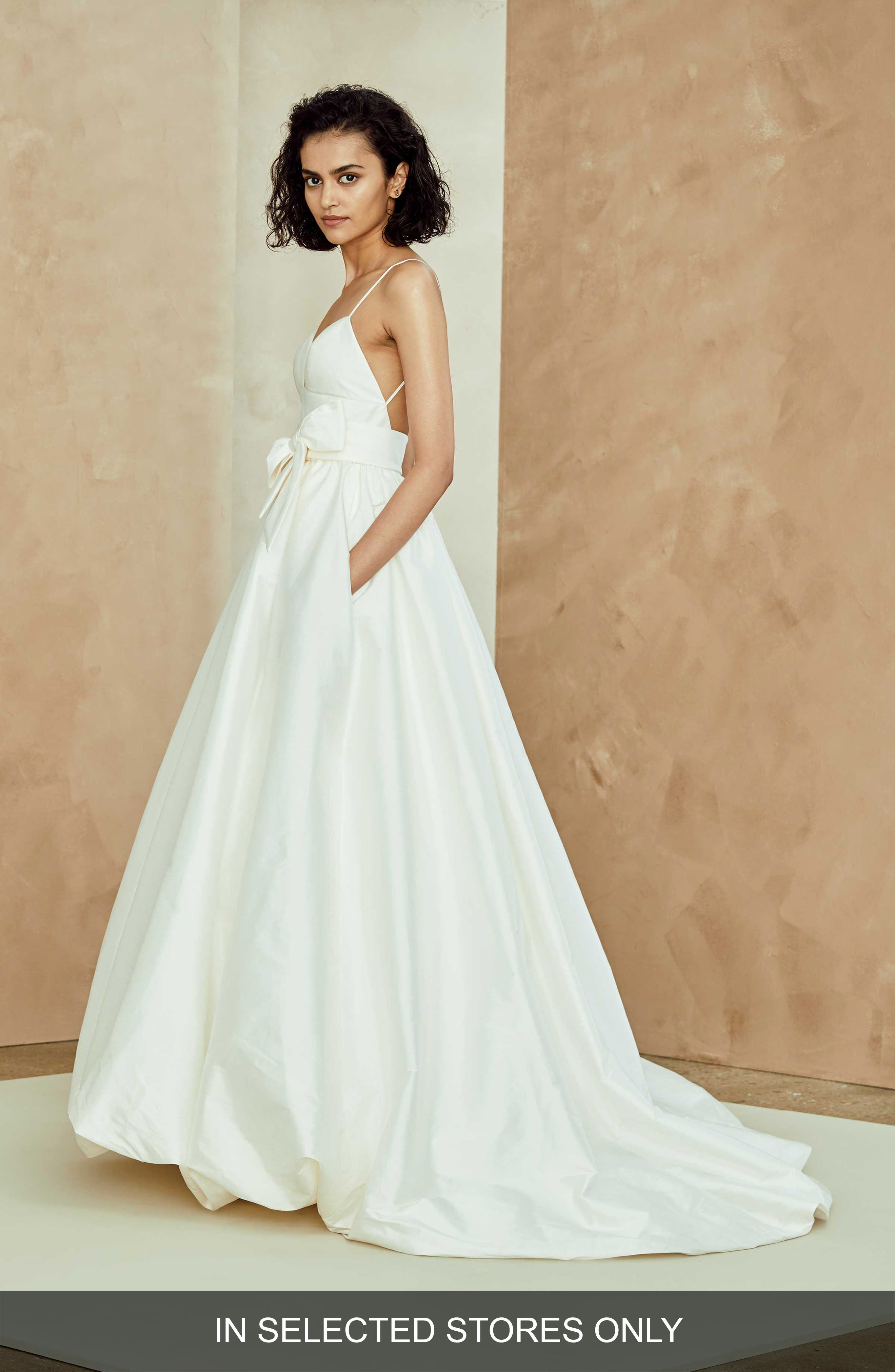 Nouvelle Amsale Camilla Bubble Hem Taffeta Ballgown, Size - White