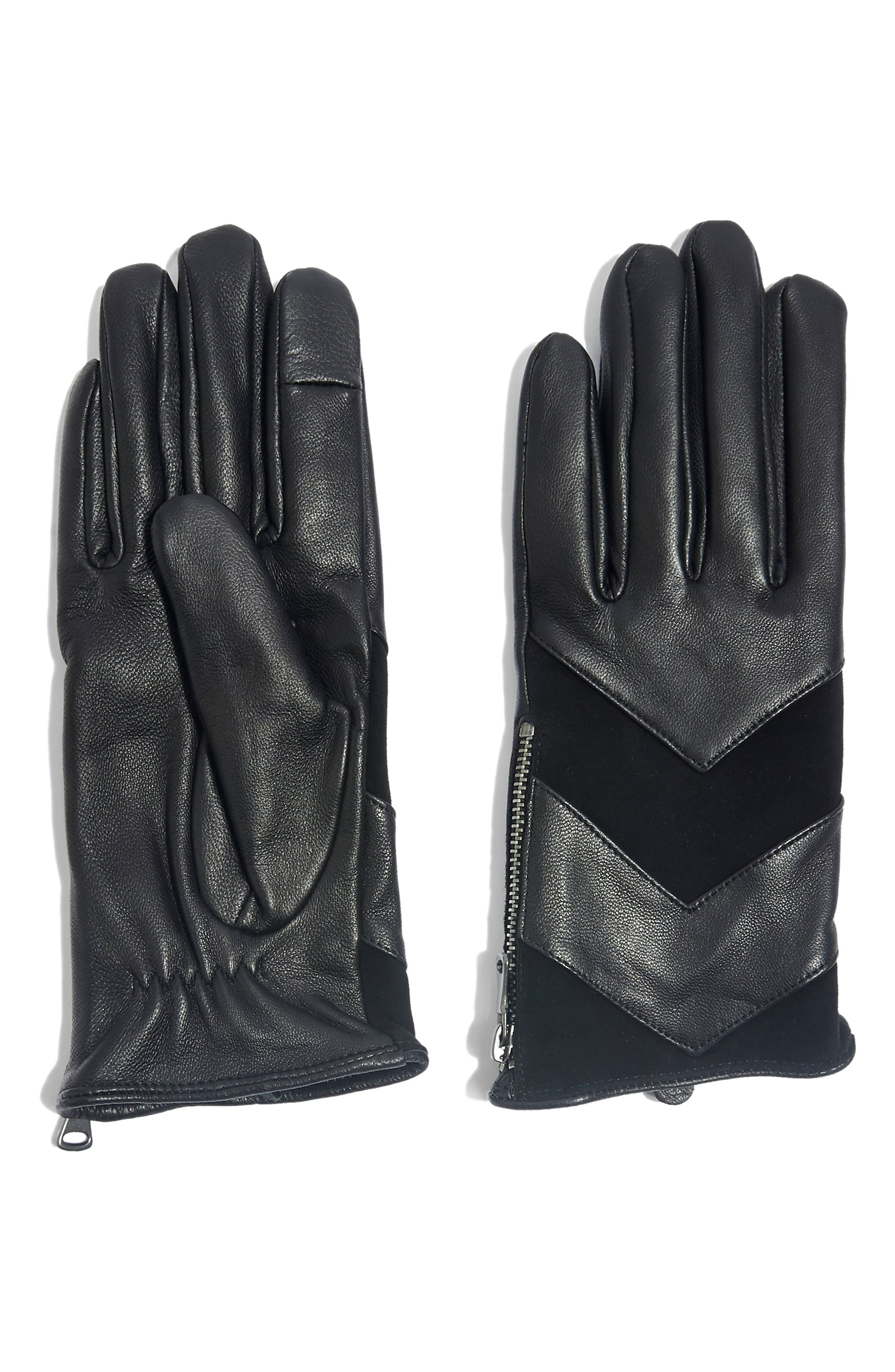 Leather Touchscreen Gloves, Main, color, BLACK