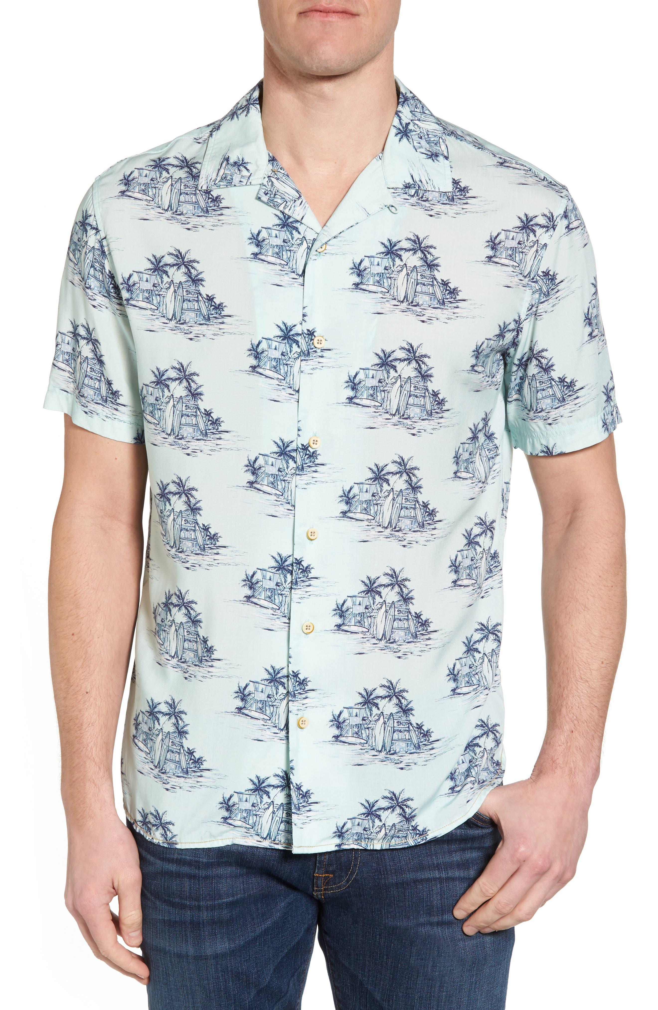 Tonal Hawaiian Print Camp Shirt,                         Main,                         color, 100